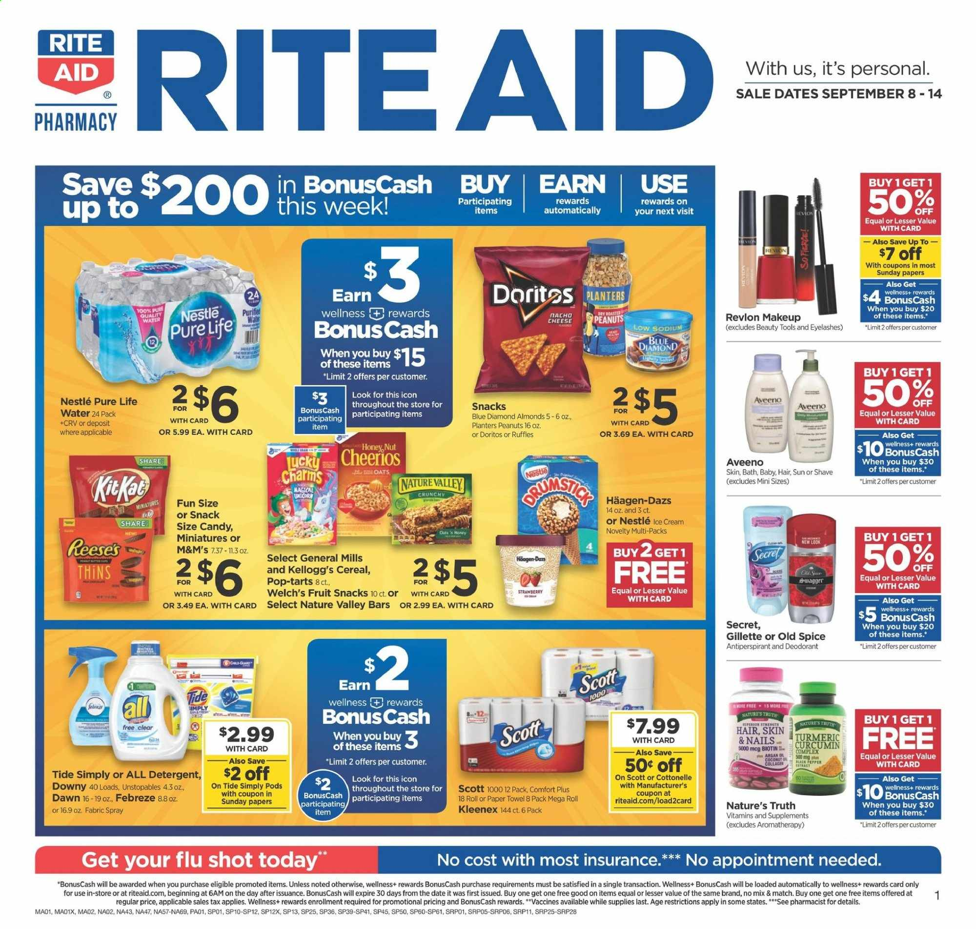 RITE AID Flyer - 09.08.2019 - 09.14.2019 - Sales products - almonds, aveeno, bath, biotin, cereals, cottonelle, dates, deodorant, detergent, doritos, downy, febreze, gillette, kleenex, makeup, nature's truth, nestlé, revlon, scott, secret, spray, tide, turmeric, unstopables, honey, ice cream, cheerios, paper towel, peanuts, oats, old spice, cheese, candy, snack, cereal, eyelashes, reese, strawberry, fruit, cream, m&m's. Page 1.