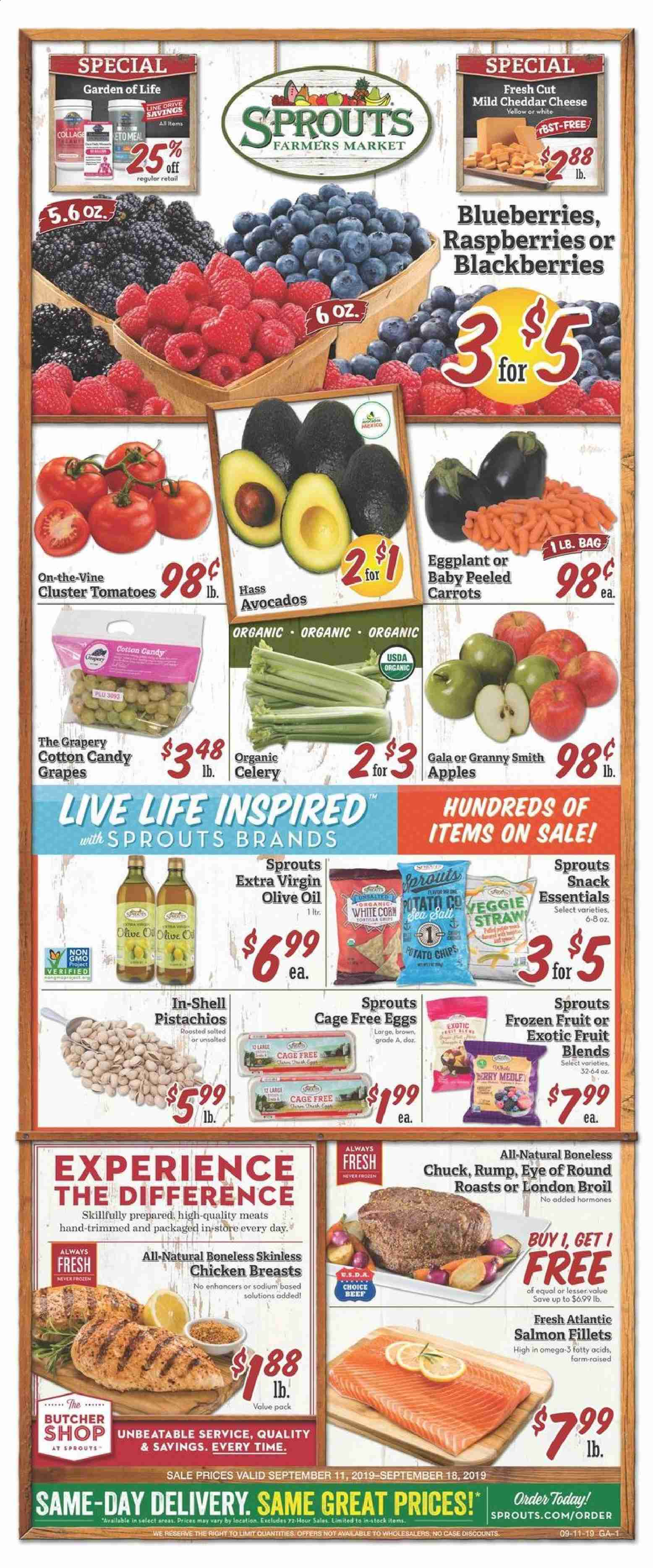 Sprouts Flyer  - 09.11.2019 - 09.18.2019. Page 1.