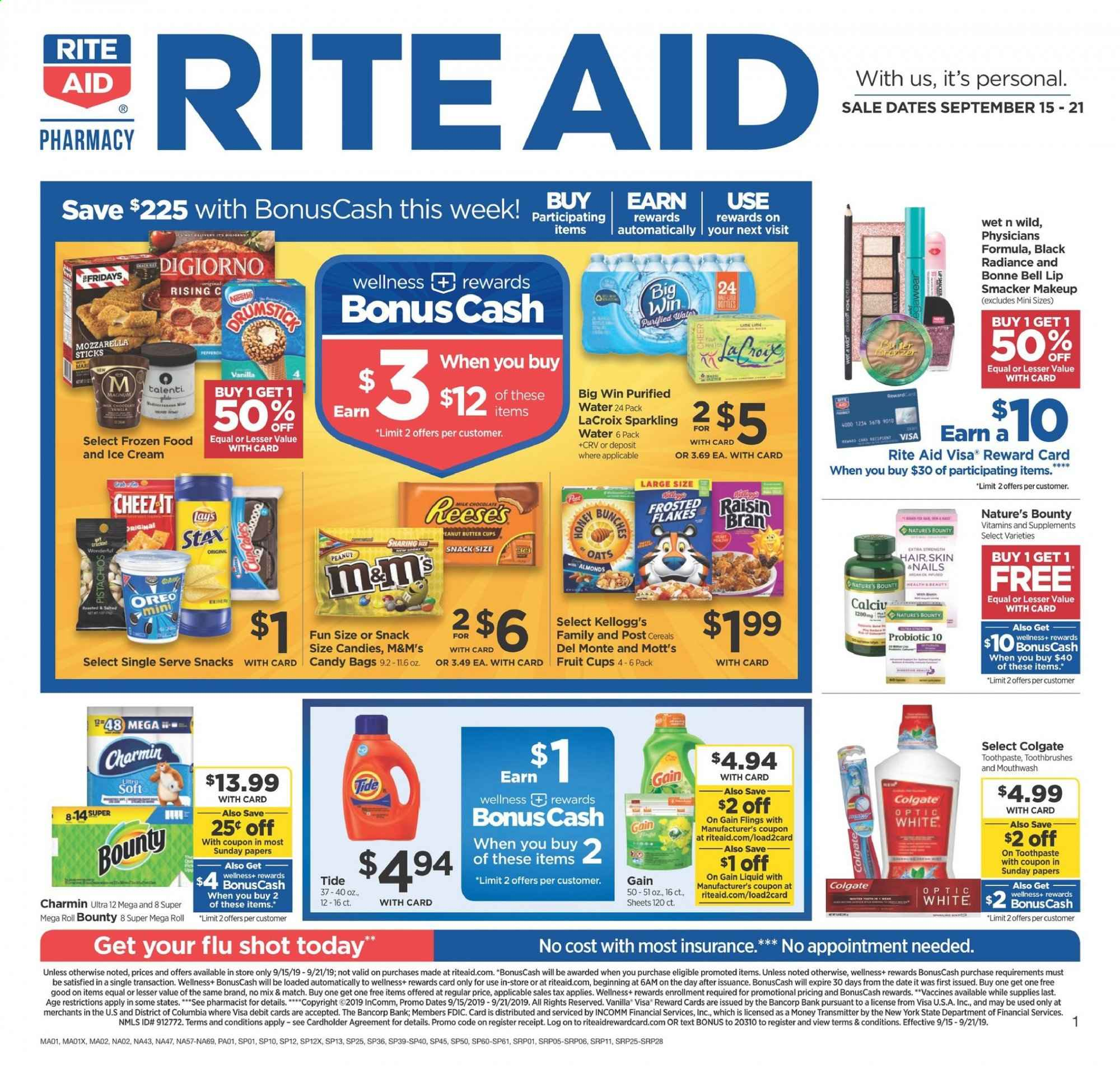 RITE AID Flyer - 09.15.2019 - 09.21.2019 - Sales products - columbia, Magnum, ice cream, Oreo, Nestlé, chocolate, candy, Bounty, M&M's, snack, Lay's, oats, cereals, almonds, peanuts, sparkling water, water, Gain, Tide, Colgate, toothpaste, mouthwash, makeup, plate, Frozen, Nature's Bounty. Page 1.