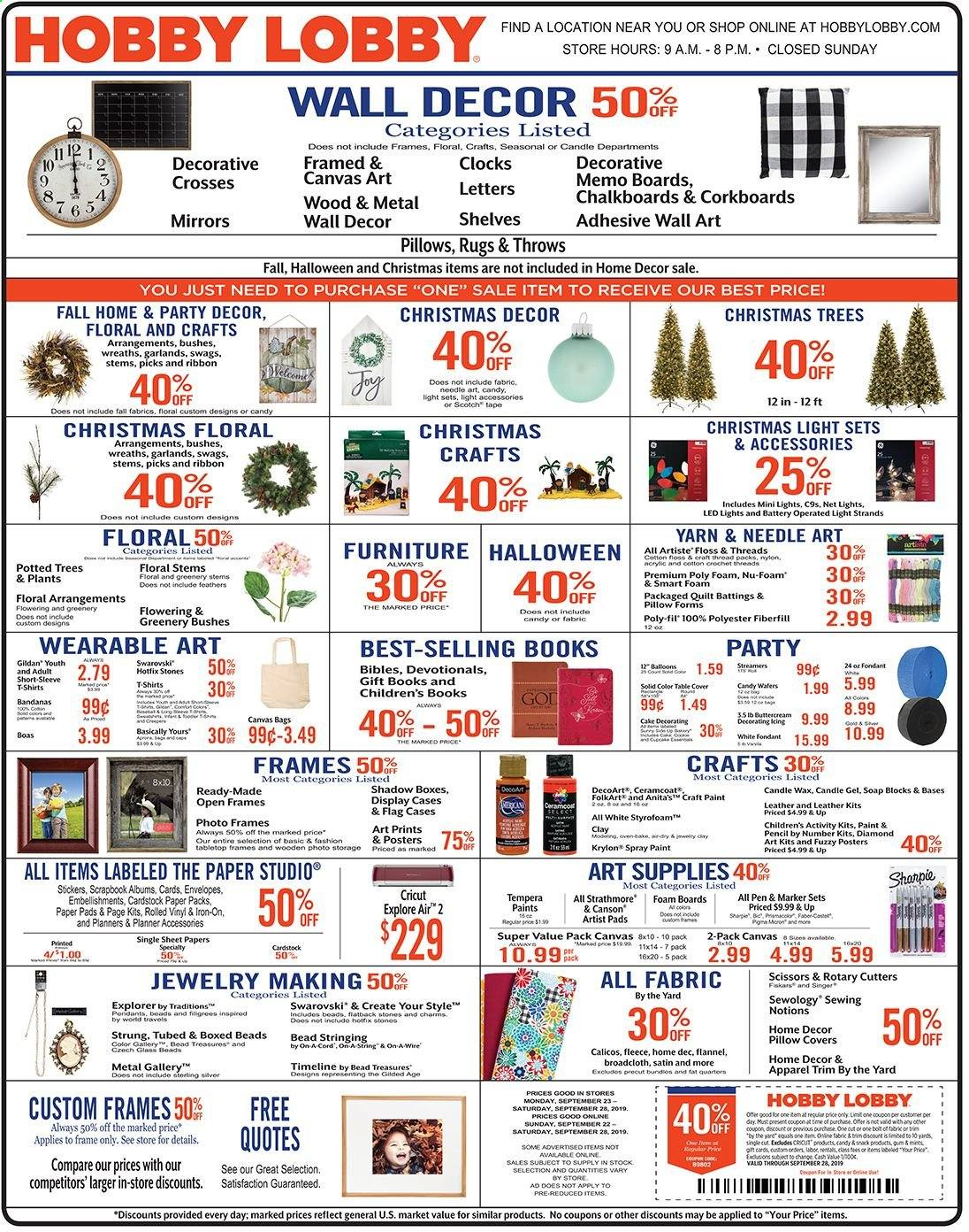 Hobby Lobby Flyer - 09.22.2019 - 09.28.2019 - Sales products - box, sticker, pen, scissors, envelope, paper, pencil, ribbon, sheet, pillow, pillow cover, quilt, satin, wall decor, christmas tree, christmas decor, pad, paint, throws. Page 1.