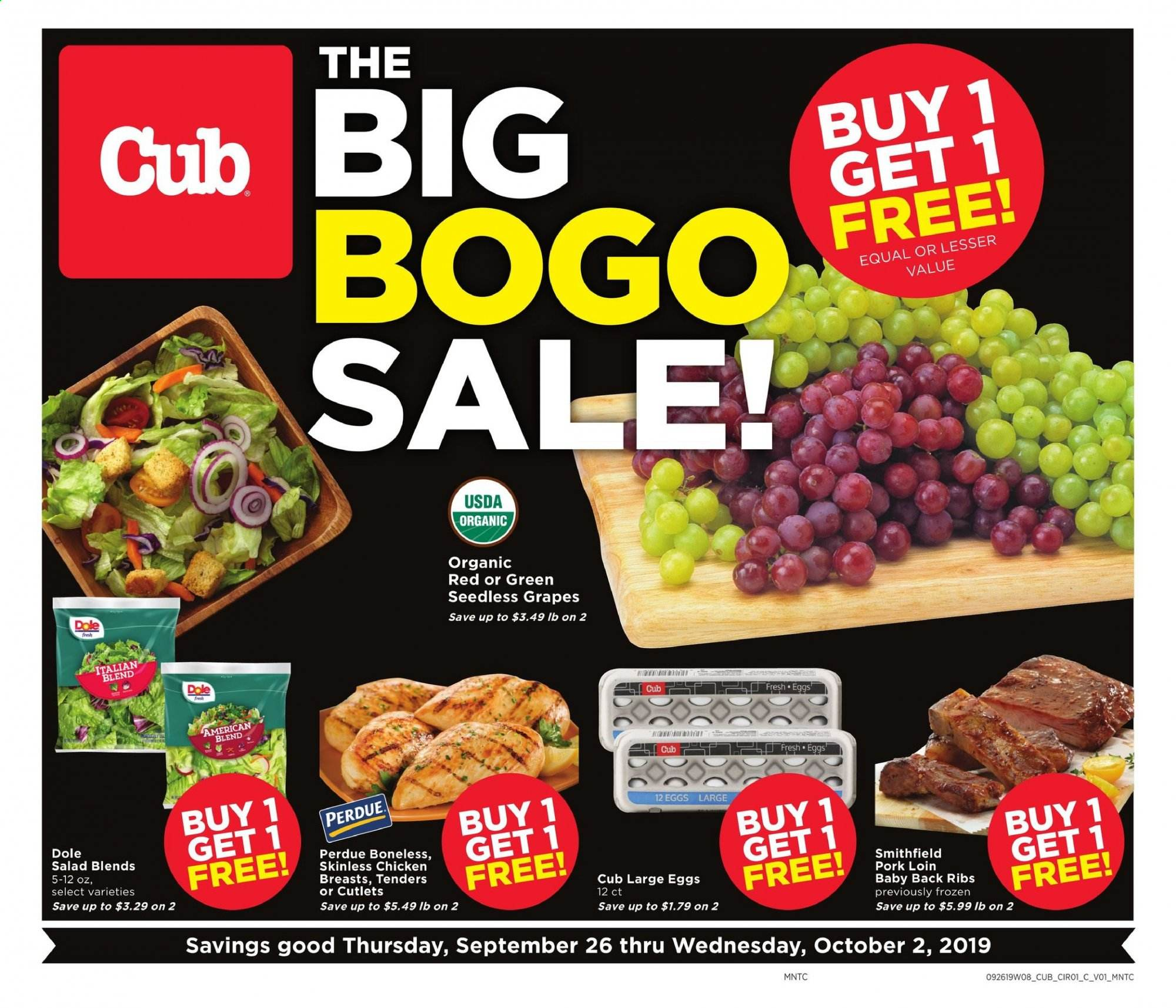 Cub Foods Flyer  - 09.26.2019 - 10.02.2019. Page 1.