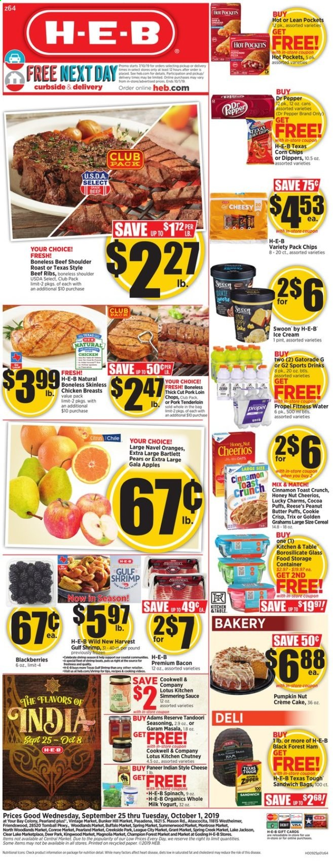 H-E-B Flyer  - 09.25.2019 - 10.01.2019. Page 1.