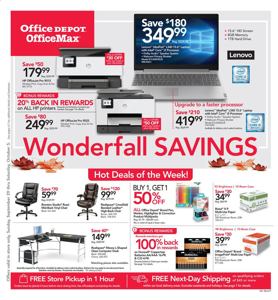 Office DEPOT Flyer  - 09.29.2019 - 10.05.2019. Page 1.