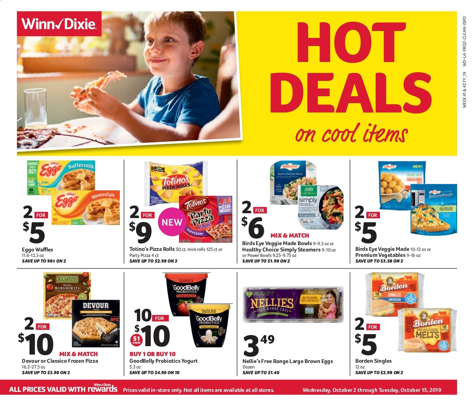 Winn Dixie Flyer - 10.02.2019 - 10.15.2019 - Sales products - vegetarian, pizza rolls, rolls, pizza, probiotics. Page 1.