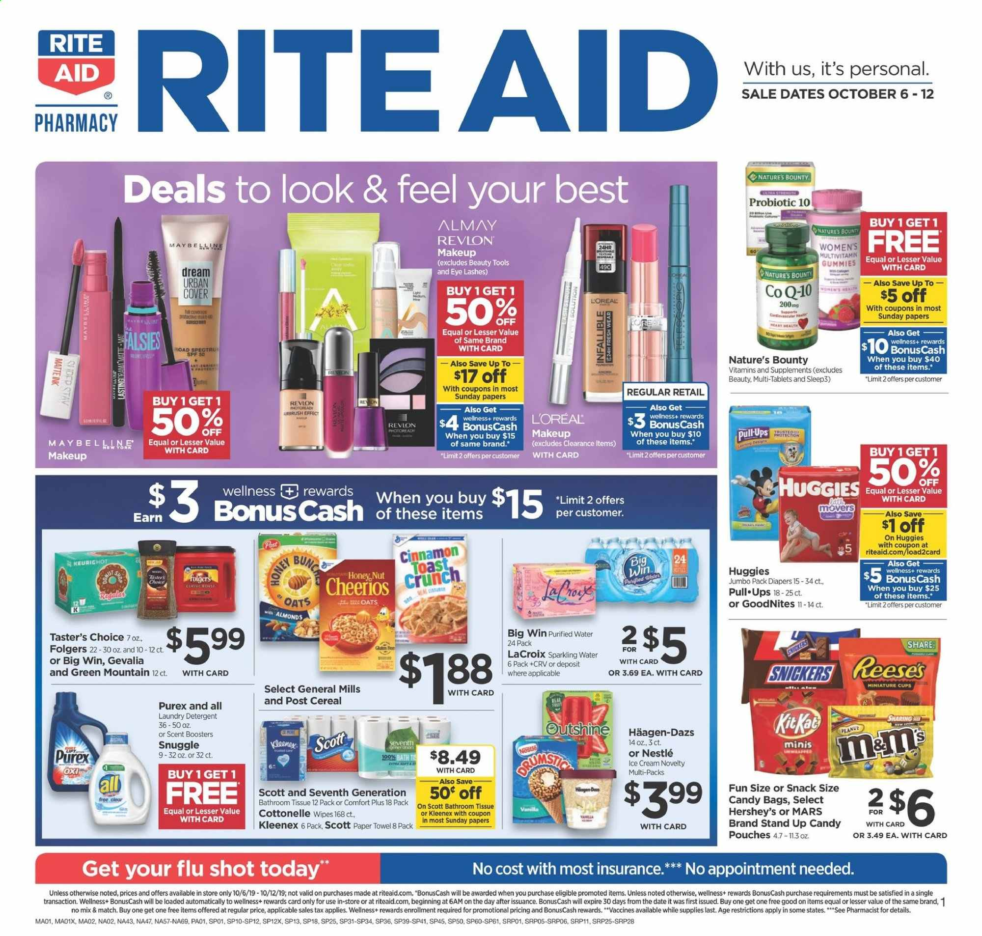 RITE AID Flyer - 10.06.2019 - 10.12.2019 - Sales products - Scott, ice cream, Nestlé, candy, Snickers, Bounty, Mars, snack, oats, cereals, Cheerios, almonds, peanuts, sparkling water, water, Folgers, Huggies, diapers, Cottonelle, Kleenex, paper towel, detergent, wipes, Snuggle, laundry detergent, Almay, L'Oréal, Revlon, tools, makeup, multivitamin, Nature's Bounty. Page 1.