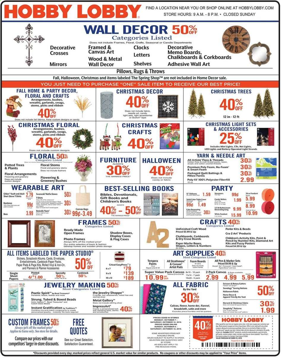 Hobby Lobby Flyer 10 06 2019 10 12 2019 Weekly Ads Us