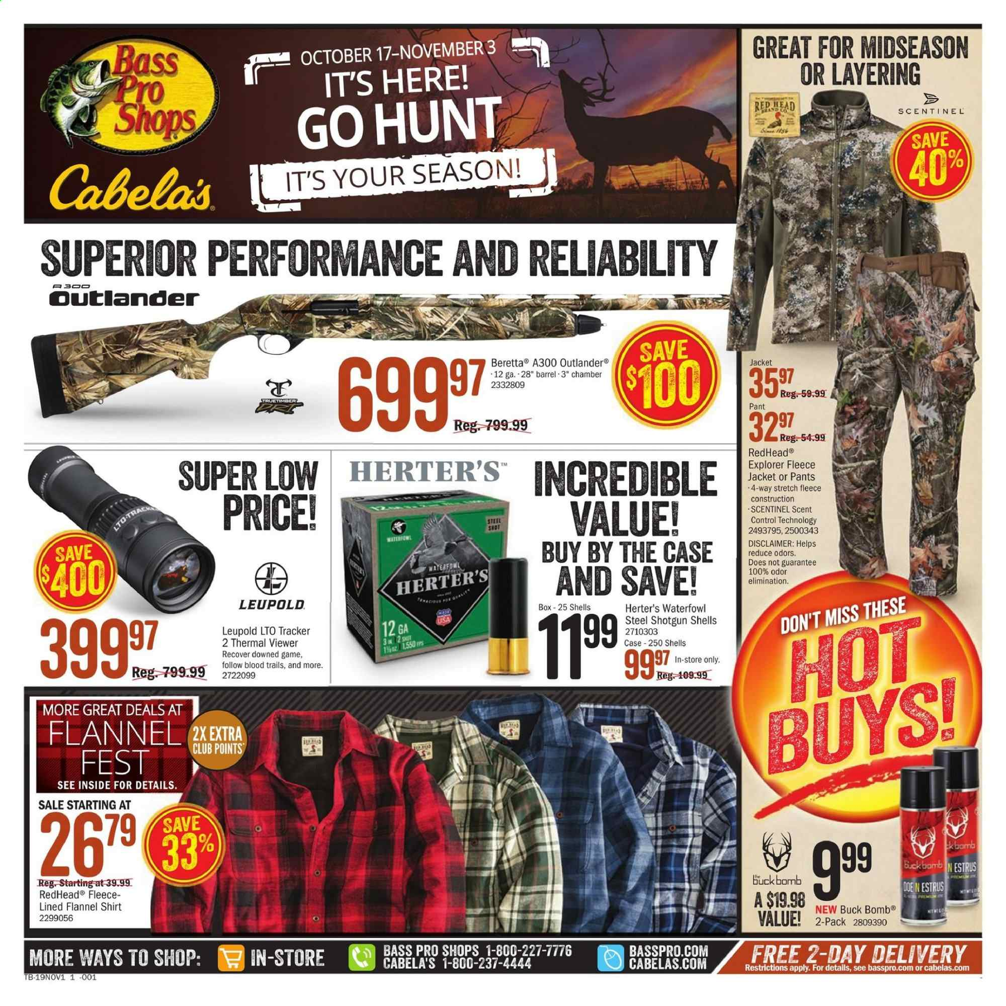 Cabela's Flyer  - 10.17.2019 - 11.03.2019. Page 1.