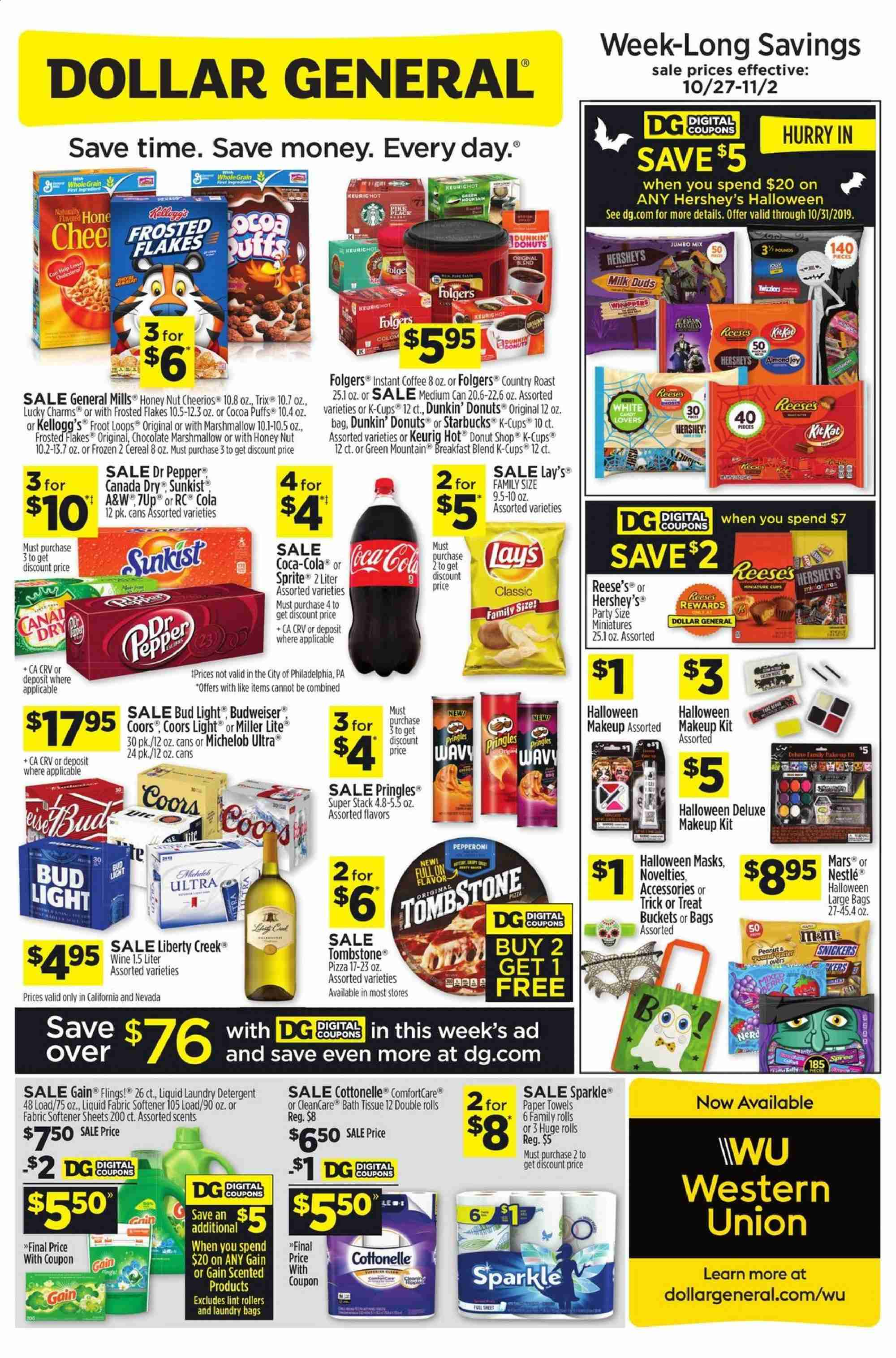 Dollar General Flyer  - 10.27.2019 - 11.02.2019. Page 1.