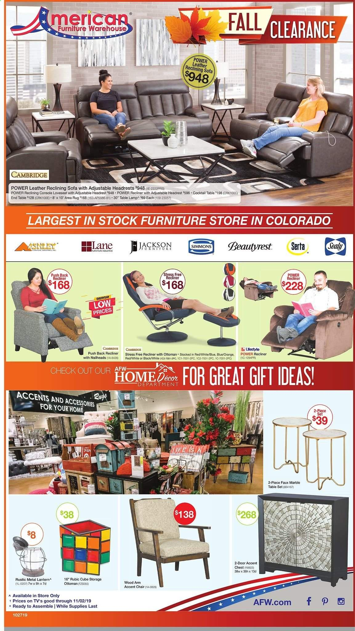 American Furniture Warehouse Flyer  - 10.27.2019 - 11.02.2019. Page 1.