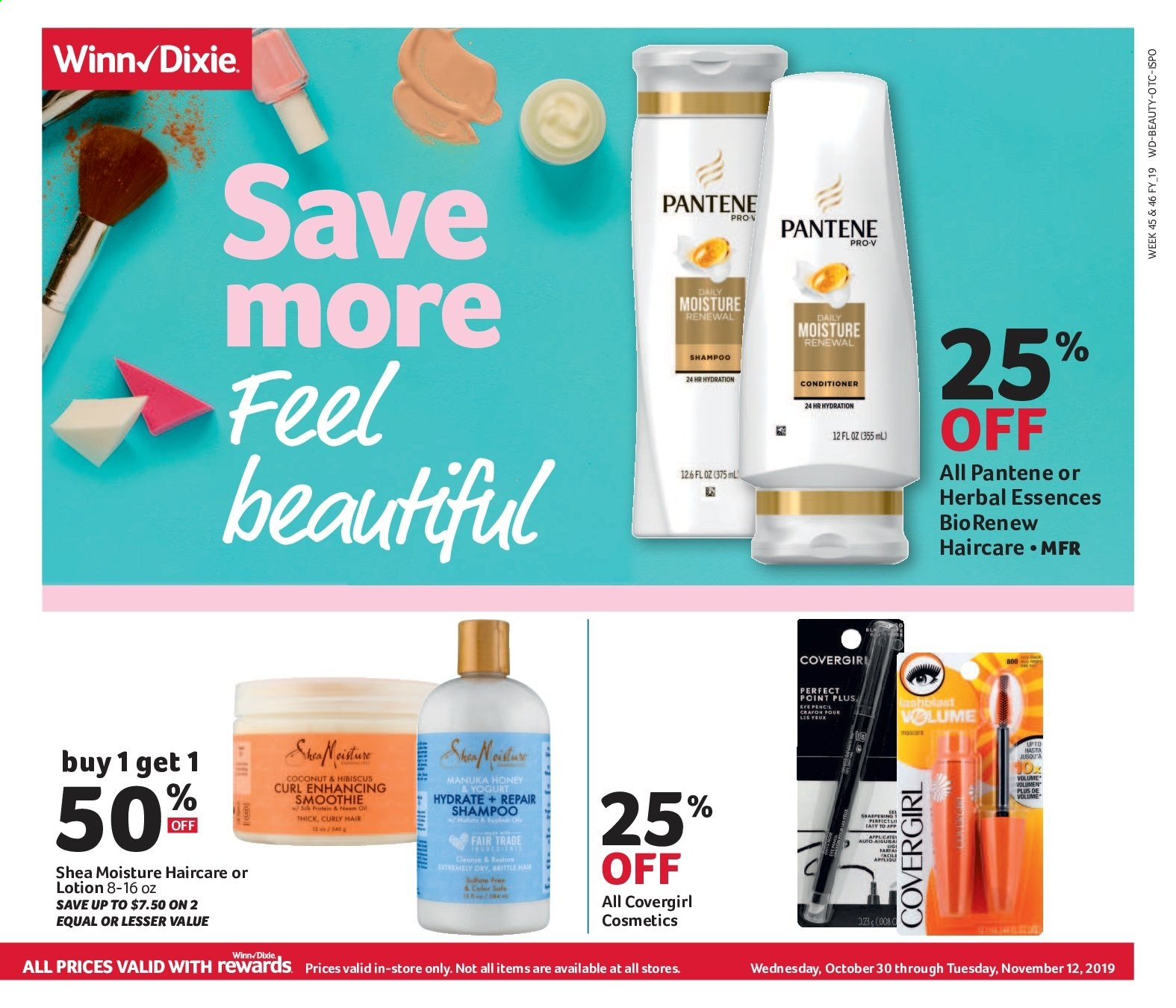 Winn Dixie Flyer - 10.30.2019 - 11.12.2019 - Sales products - coconut, honey, smoothie, shampoo, conditioner, Pantene, protein, moisture, repair, sůl. Page 1.