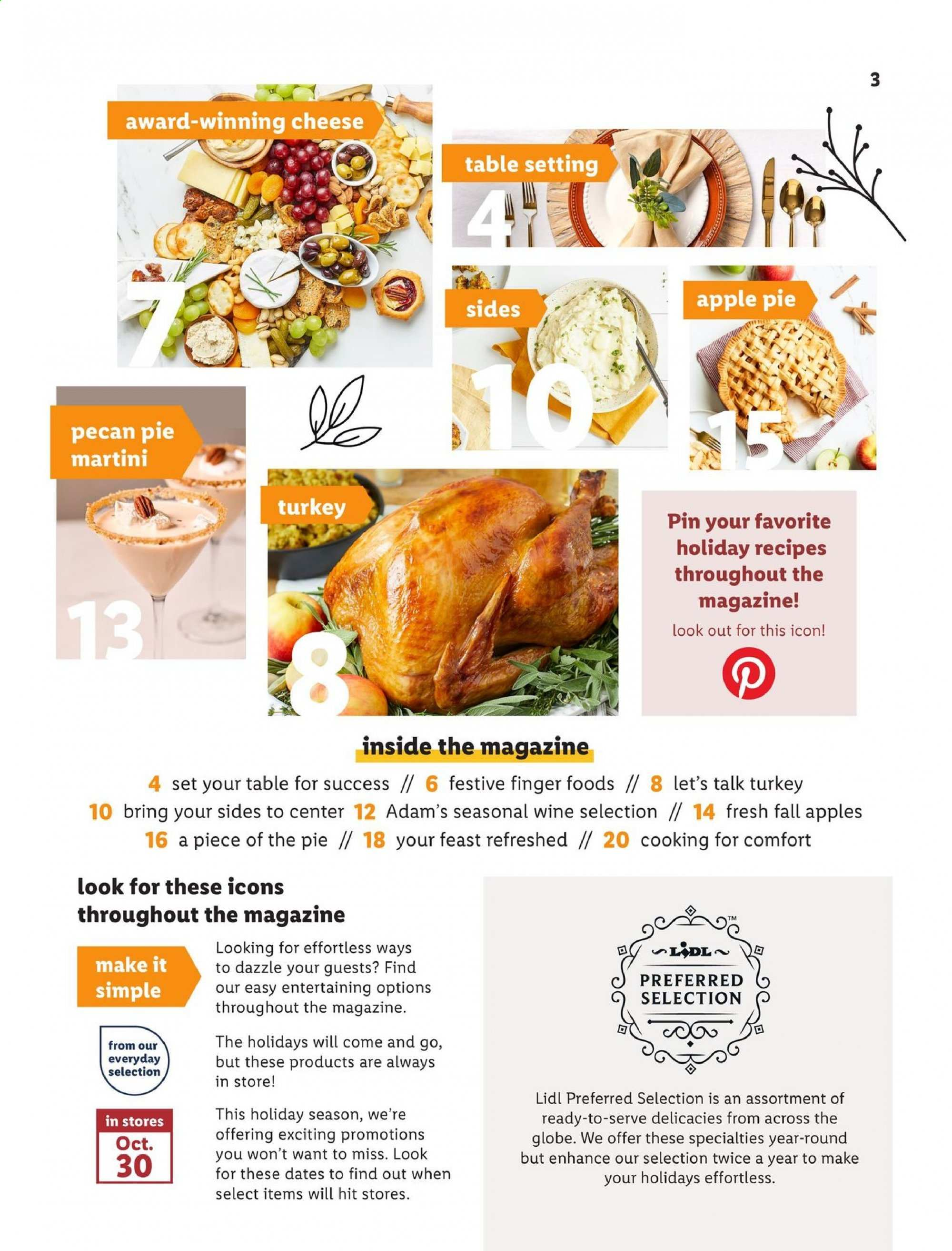 Lidl Flyer - 10.30.2019 - 12.31.2019 - Sales products - apple pie, apples, dates, table, turkey, pin, cheese, pie, wine, finger. Page 3.