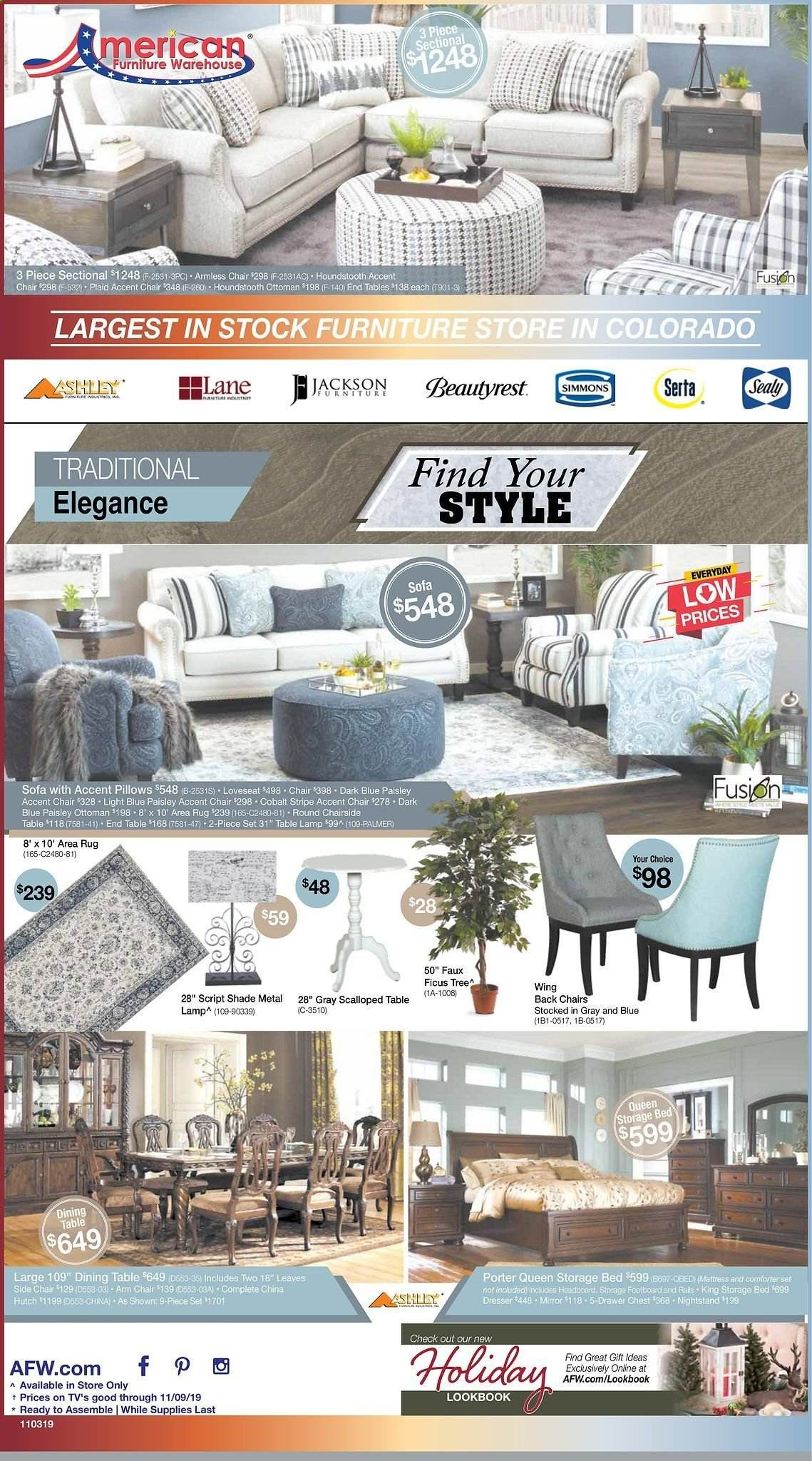 American Furniture Warehouse Flyer  - 11.03.2019 - 11.09.2019. Page 1.