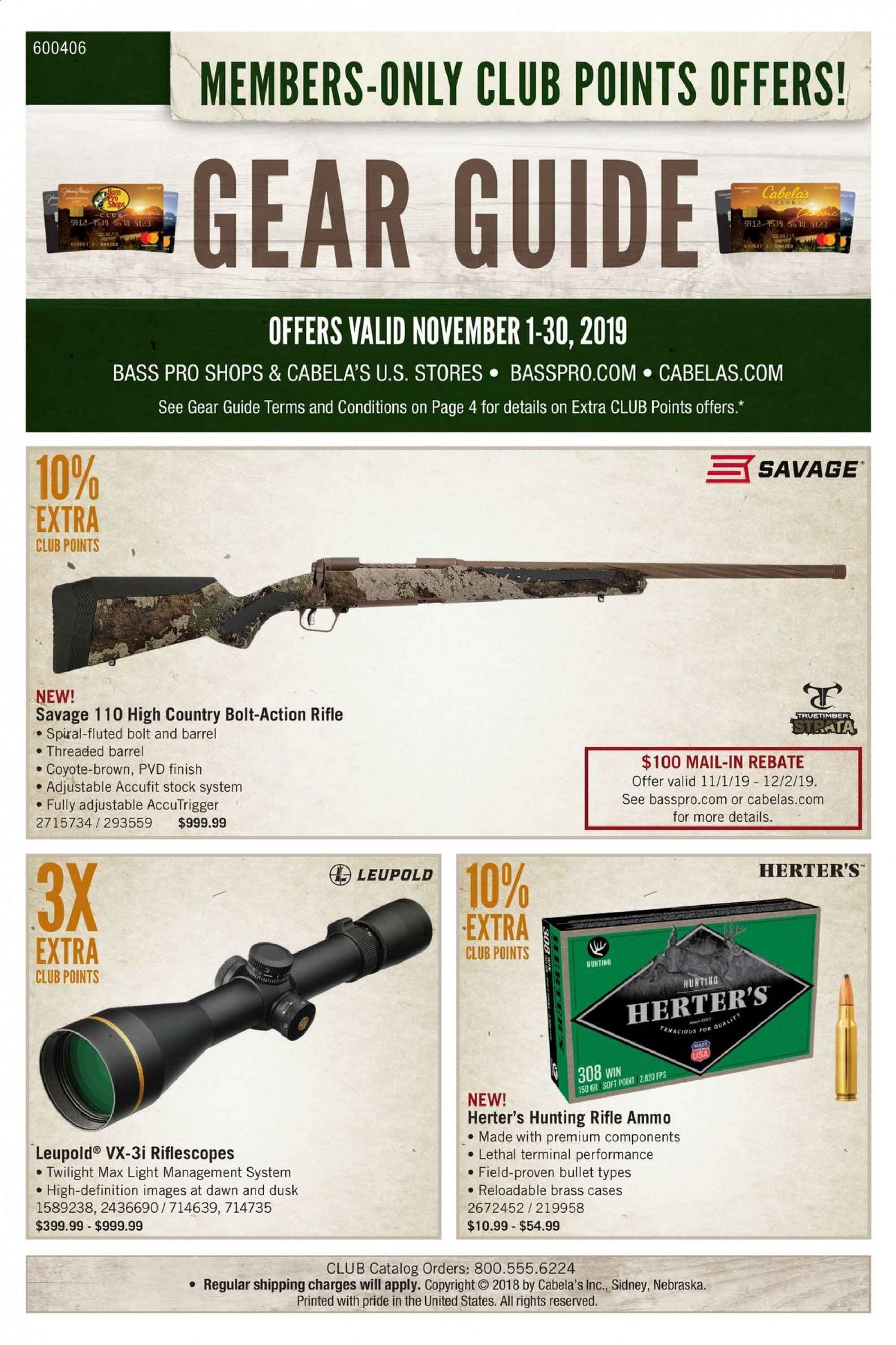 Cabela's Flyer  - 11.01.2019 - 11.30.2019. Page 1.