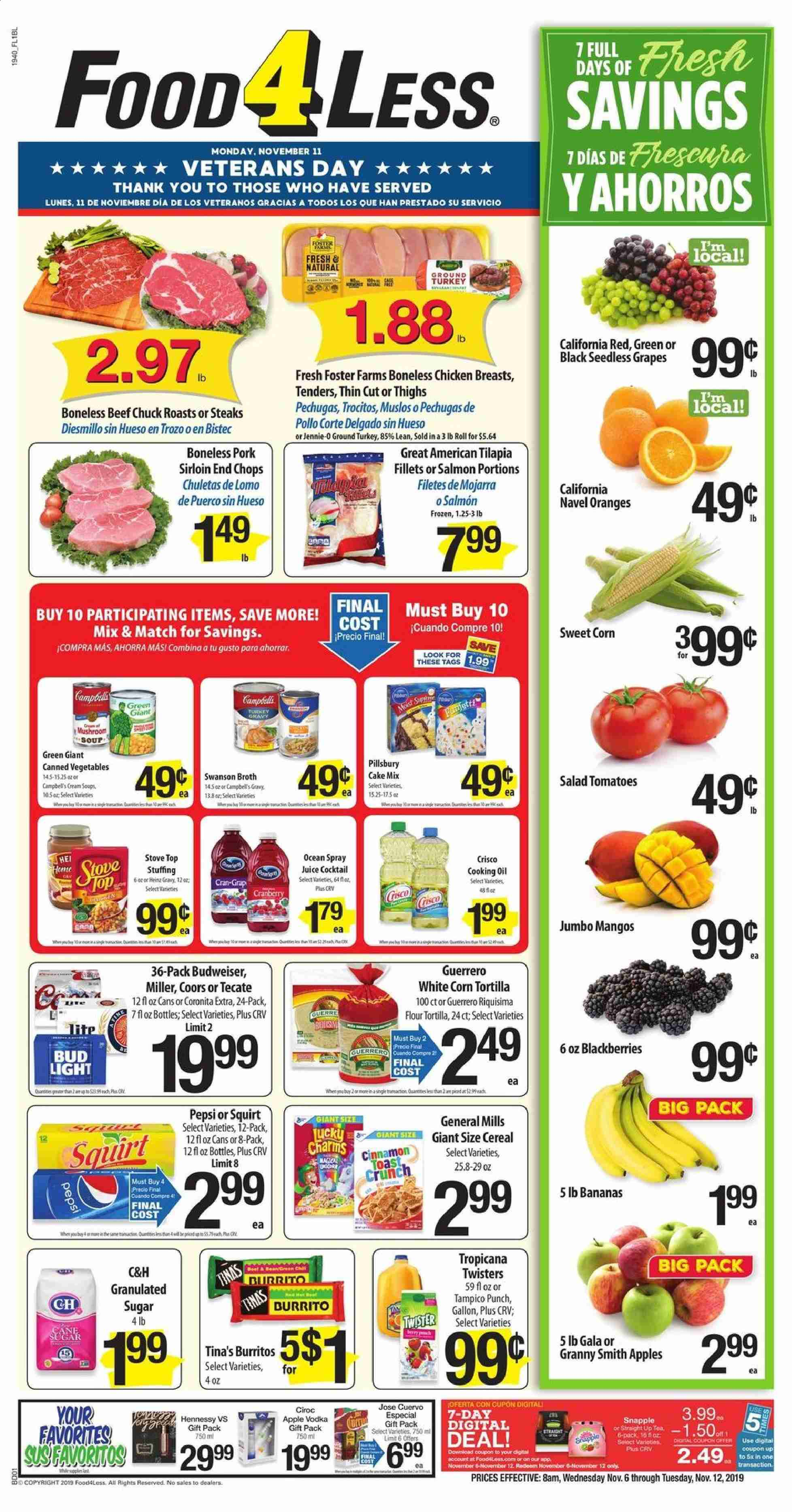 Food 4 Less Flyer  - 11.06.2019 - 11.12.2019. Page 1.