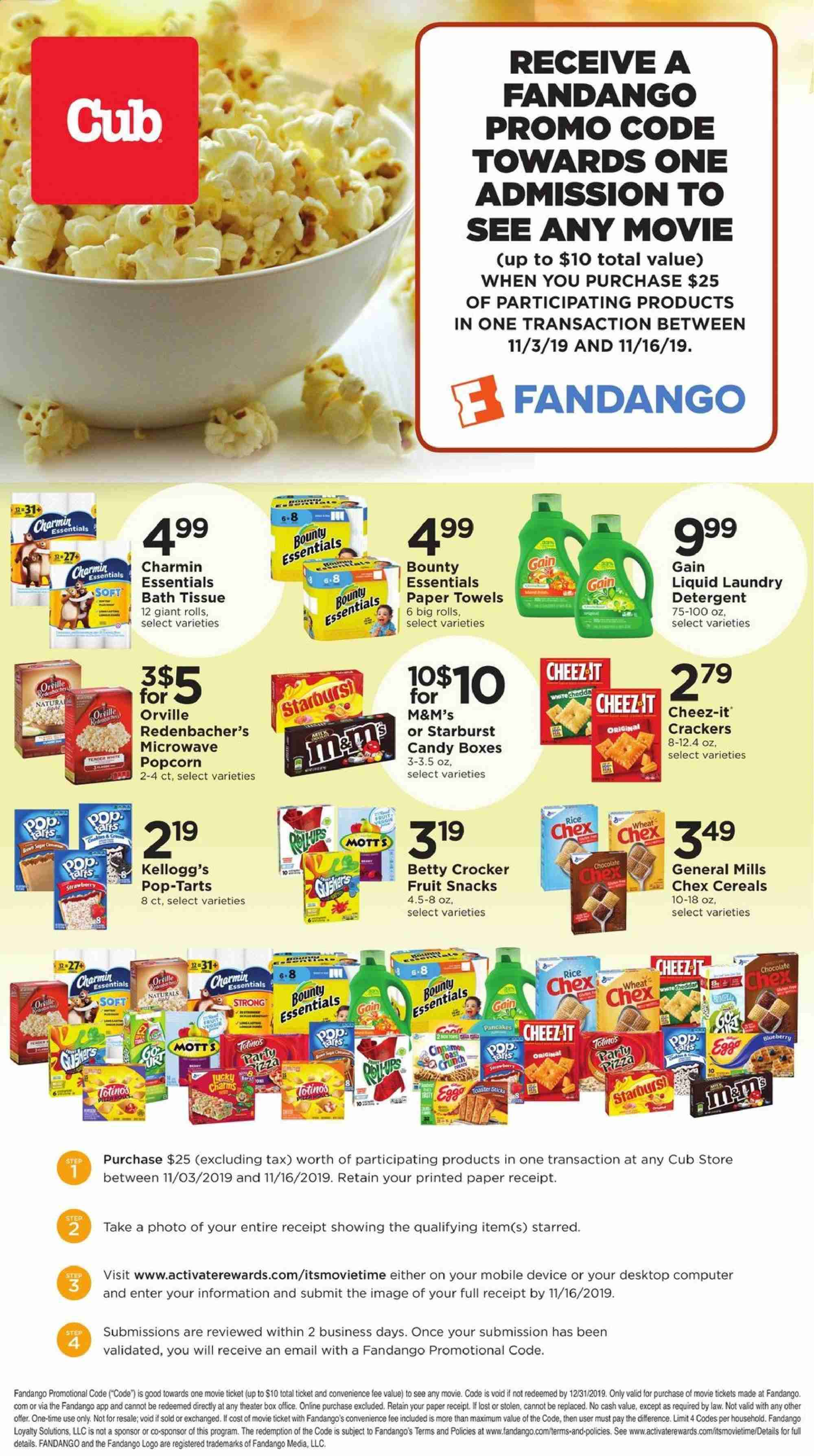 Cub Foods Flyer - 11.03.2019 - 11.16.2019 - Sales products - rolls, toast bread, pancake, pizza, charm, milk, chocolate, candy, Bounty, M&M's, crackers, Kellogg's, Pop-Tarts, fruit snacks, Starburst, popcorn, Cheez-It, cereals, rice, cinnamon, Mott's, essentials, Charmin. Page 1.