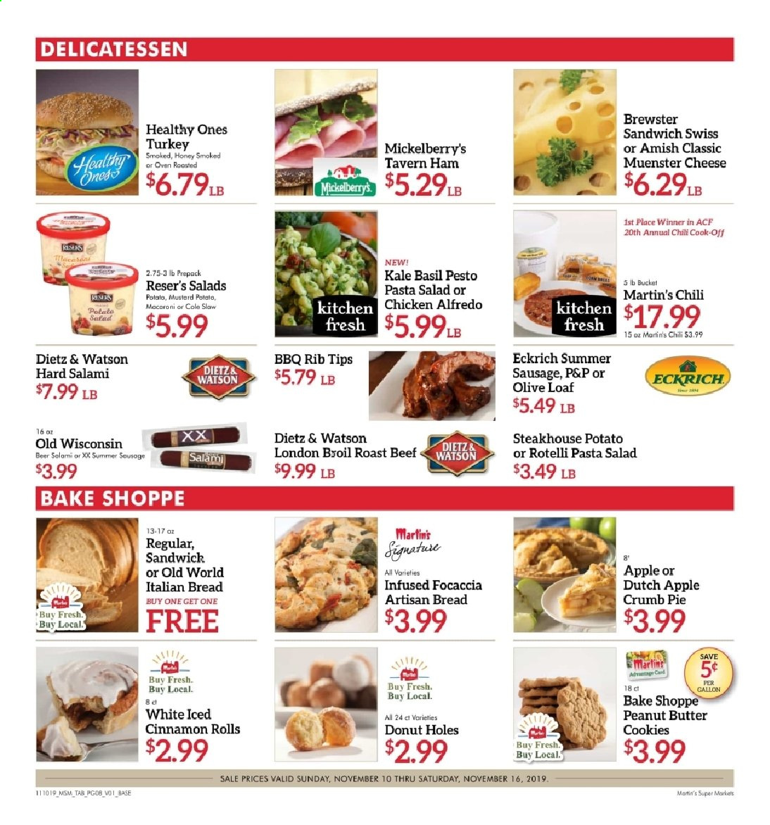 Martin's Flyer - 11.10.2019 - 11.16.2019 - Sales products - alfredo sauce, apples, basil, beef meat, beer, bread, butter, cinnamon rolls, cookies, donut holes, muenster, mustard, salami, sausage, turkey, ham, honey, kale, kitchen, pesto, chicken, peanut butter, oven, cheese, butter cookies, sandwich, pie, macaroni, pasta, salad, bucket, roast. Page 9.