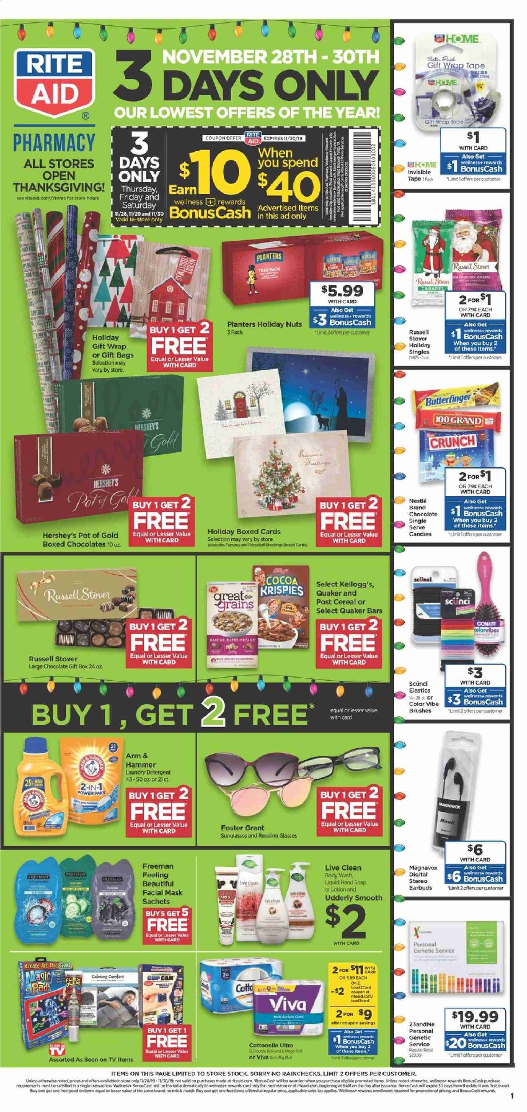 RITE AID Flyer  - 11.28.2019 - 11.30.2019. Page 1.