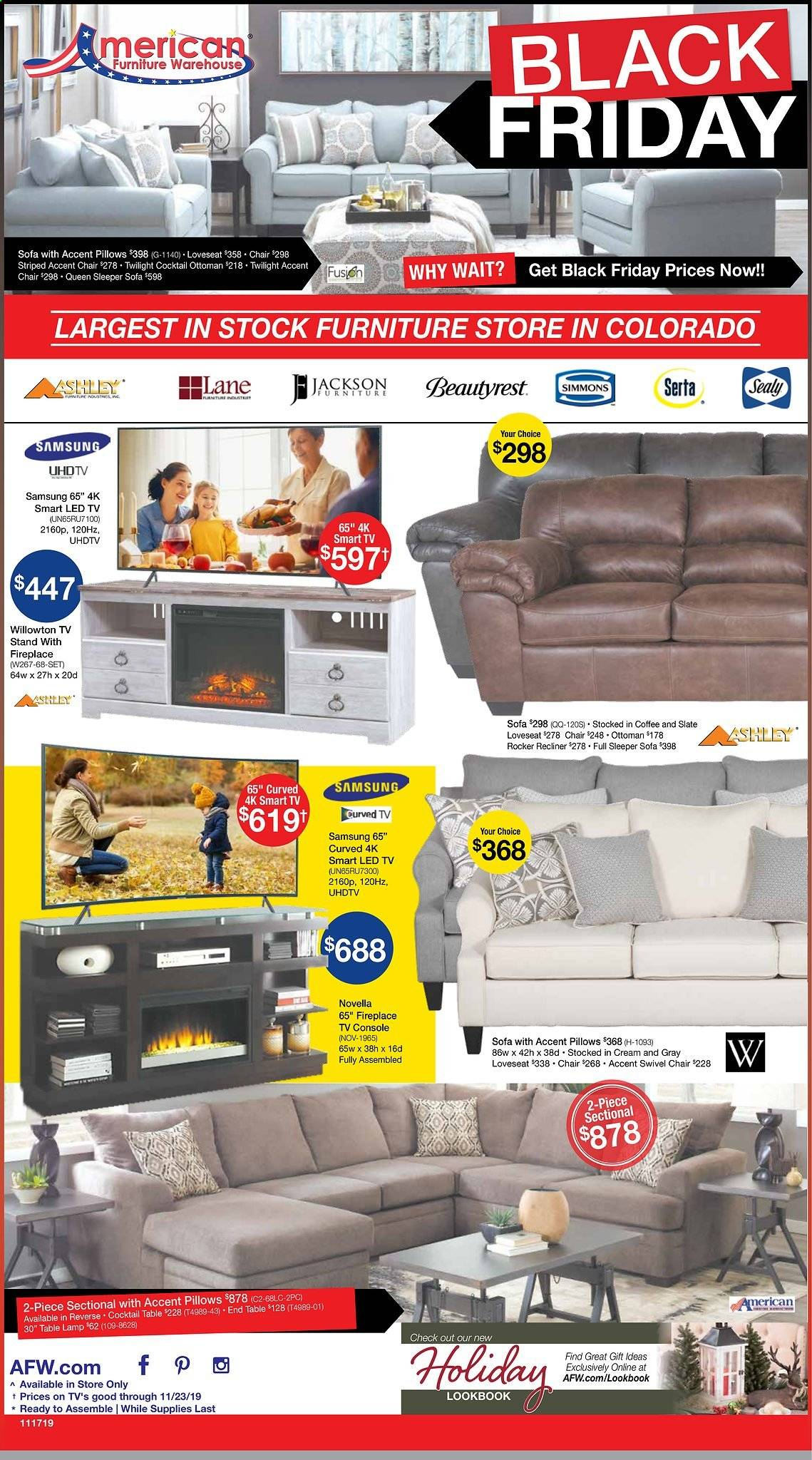 American Furniture Warehouse Flyer  - 11.17.2019 - 11.23.2019. Page 1.