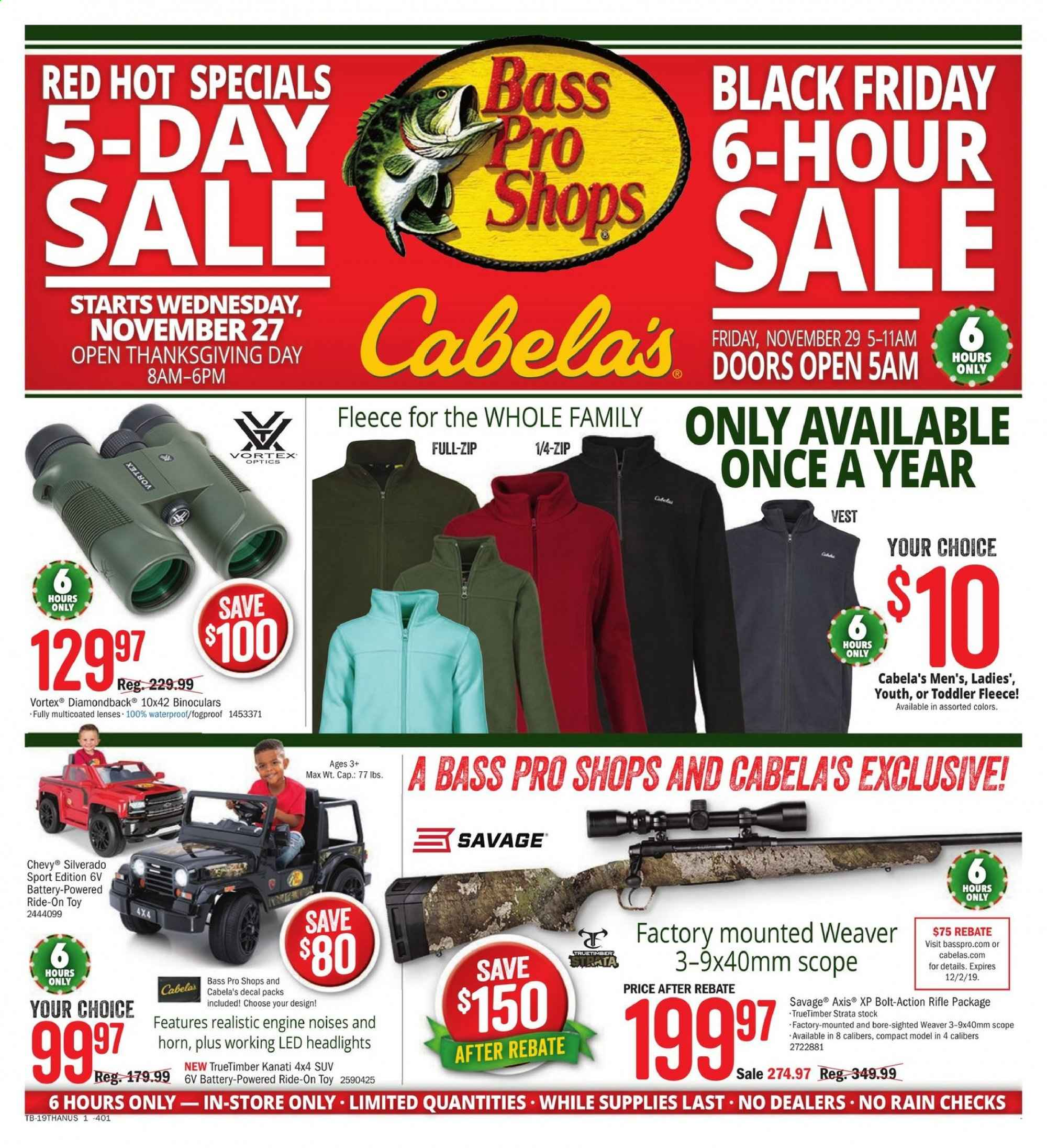 Cabela's Flyer  - 11.27.2019 - 12.01.2019. Page 1.