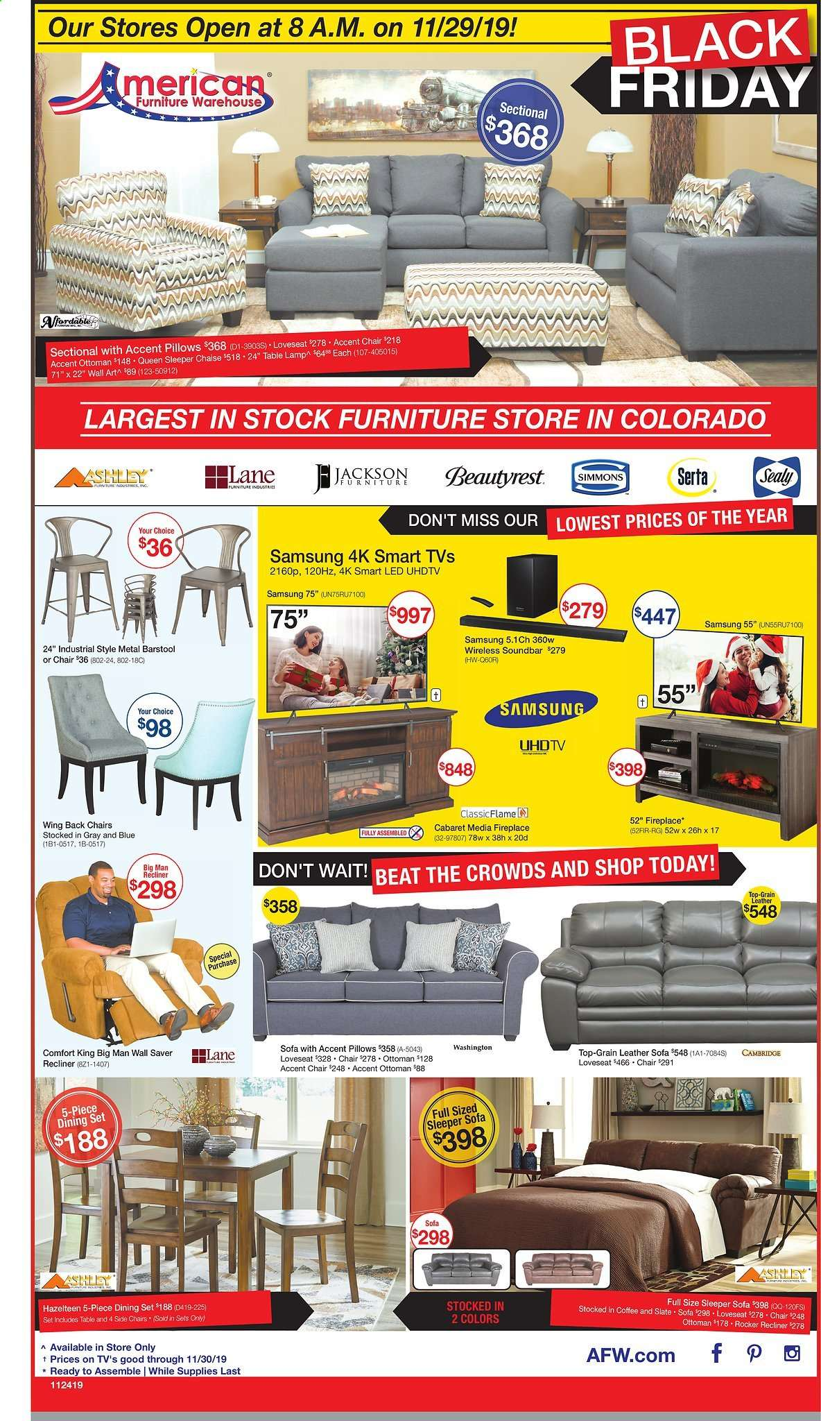 American Furniture Warehouse Flyer 11 24 2019 11 30 2019 Page 1 Weekly Ads