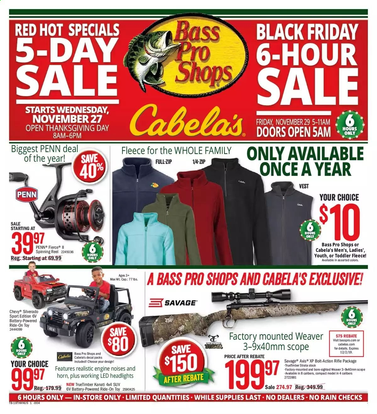 Bass Pro Shops Flyer - 11.29.2019 - 11.29.2019 - Sales products - vest, cap, Bass Pro, reel, spinning reel, savage, fishing rod, scope, Penn. Page 1.