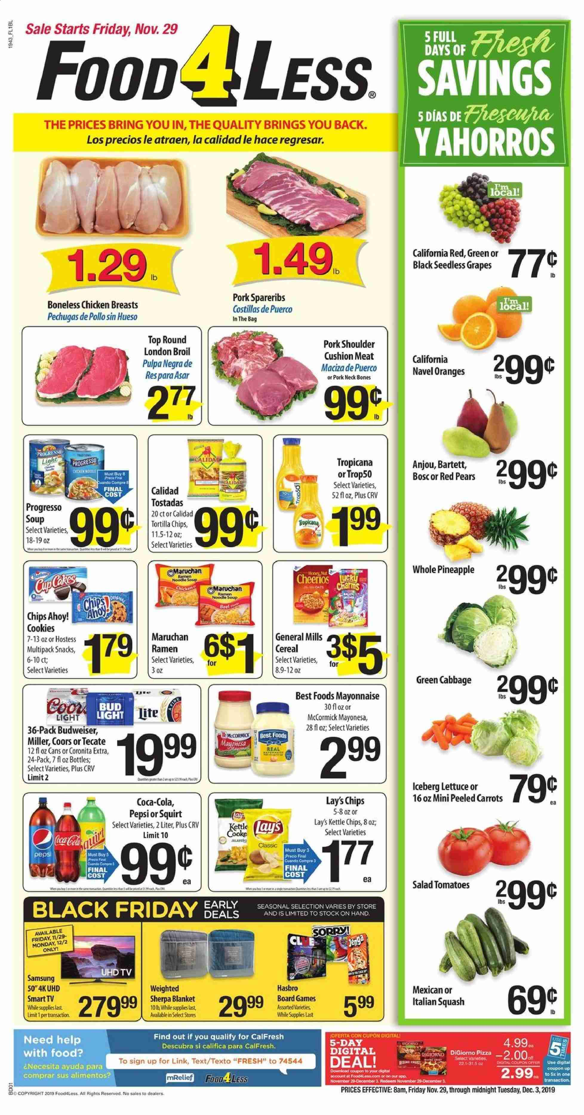 Food 4 Less Flyer  - 11.29.2019 - 12.03.2019. Page 1.