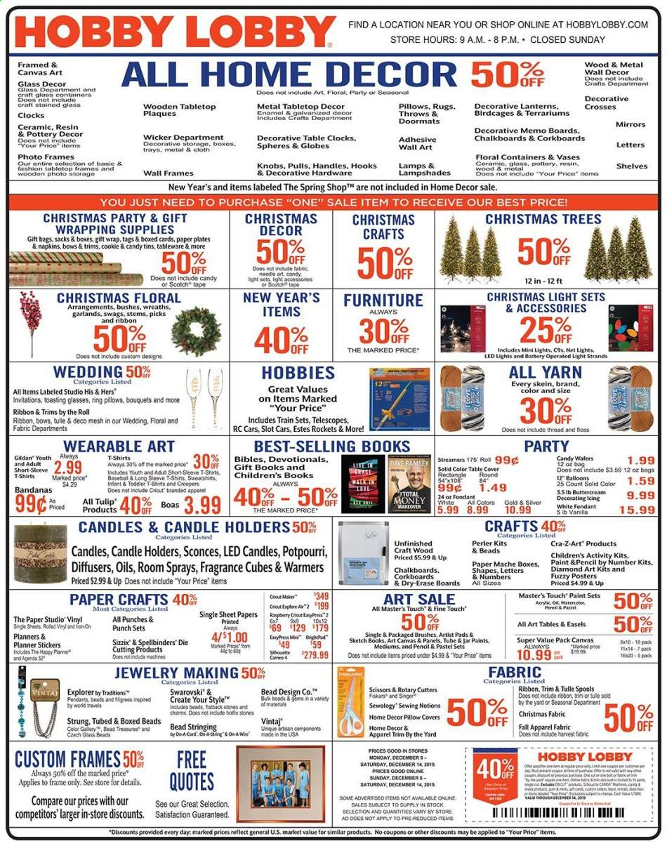 Hobby Lobby Flyer 12 08 2019 12 14 2019 Weekly Ads Us
