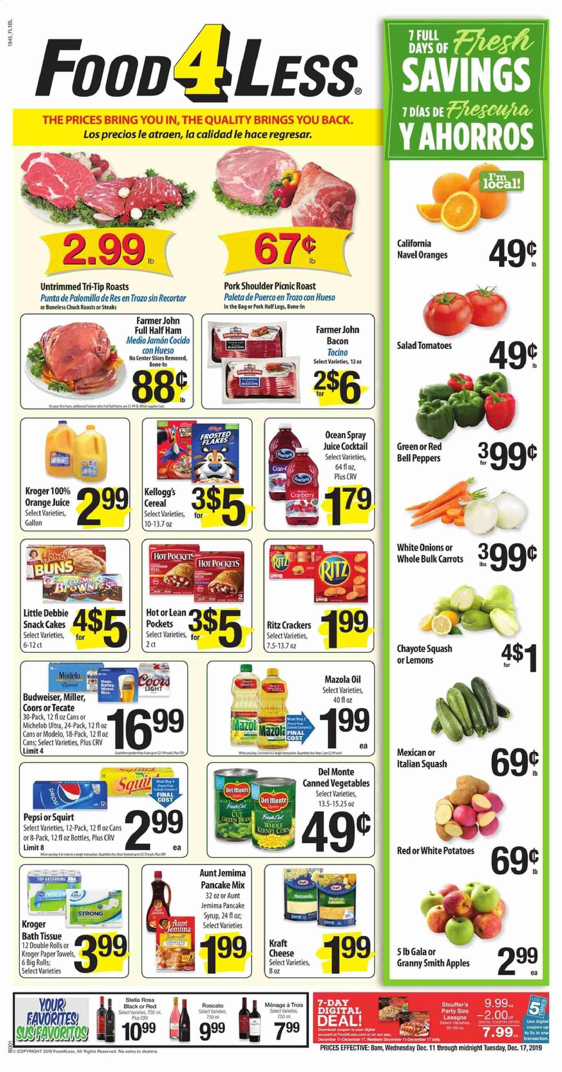 Food 4 Less Flyer  - 12.11.2019 - 12.17.2019. Page 1.
