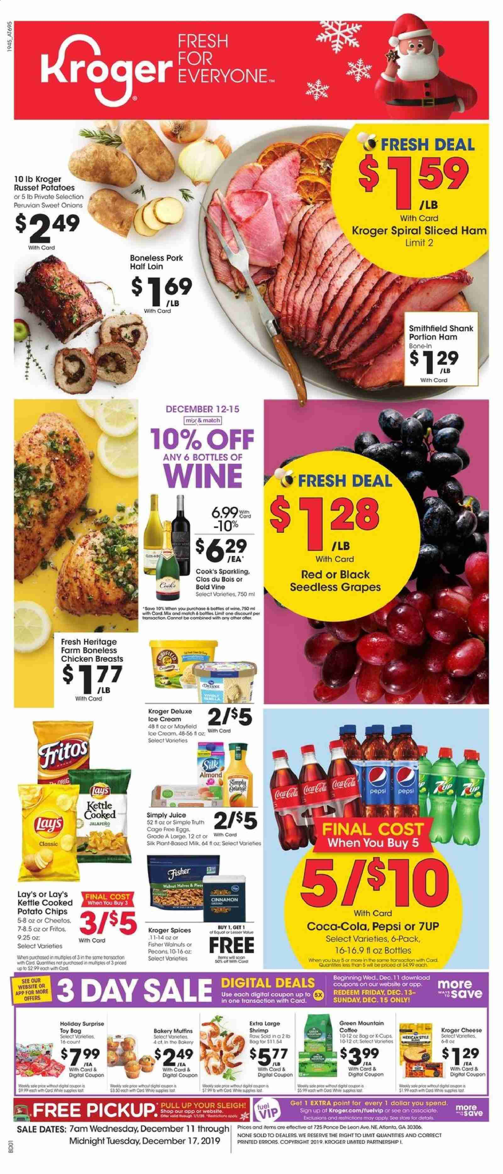 Kroger Flyer - 12.11.2019 - 12.17.2019 - Sales products - coca-cola, coffee, dates, eggs, fritos, fuel, grapes, milk, russet potatoes, seedless grapes, shrimp, sole, ham, ice cream, pork meat, potato chips, potatoes, cheetos, chicken, chicken breast, pepsi, onion, chips, toys, cheese, juice, lay's, wine, jalapeno, cream. Page 1.