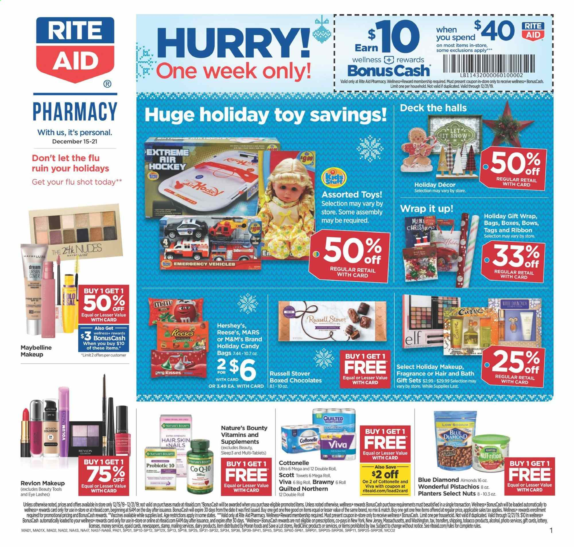 RITE AID Flyer  - 12.15.2019 - 12.21.2019. Page 1.