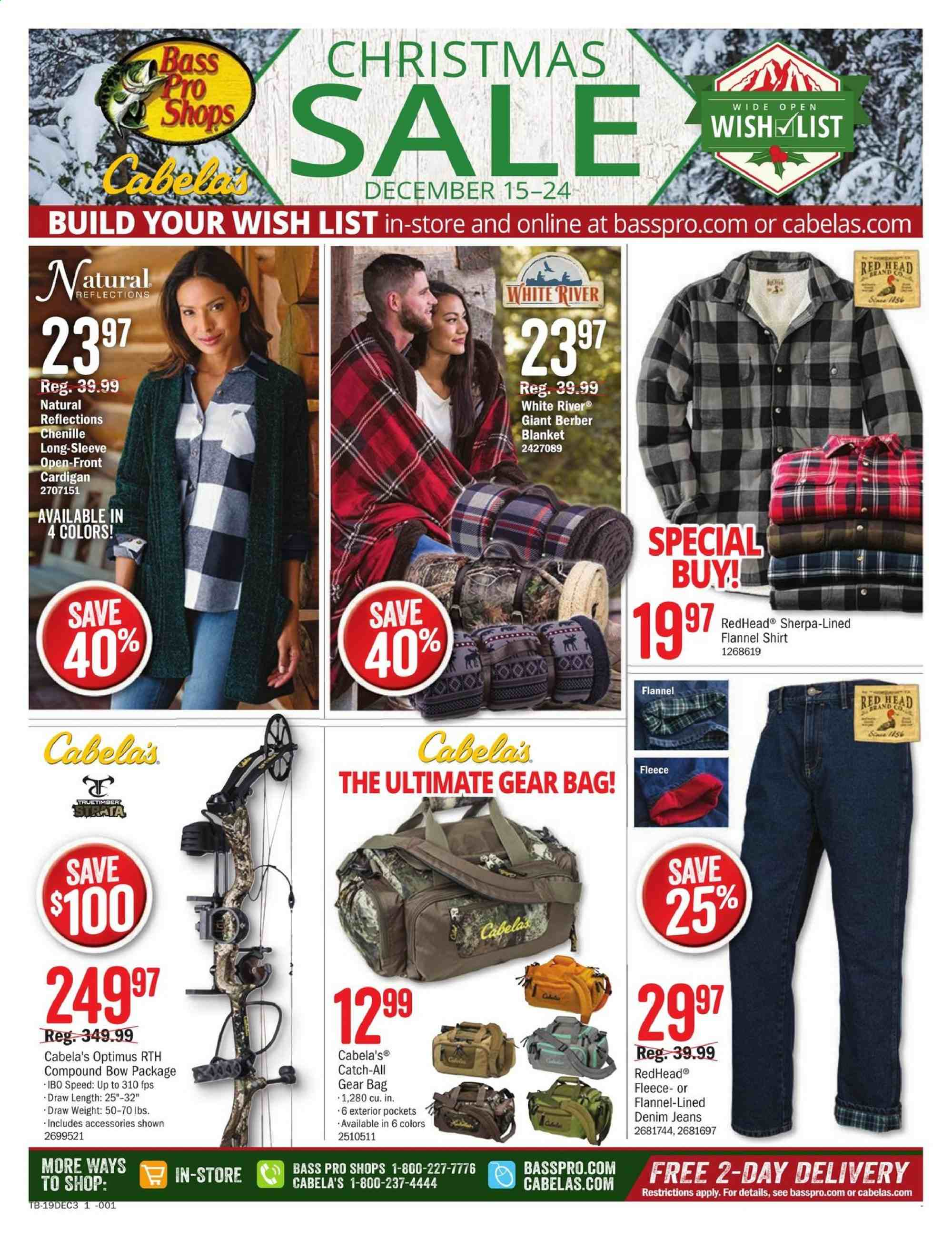 Cabela's Flyer  - 12.15.2019 - 12.24.2019. Page 1.