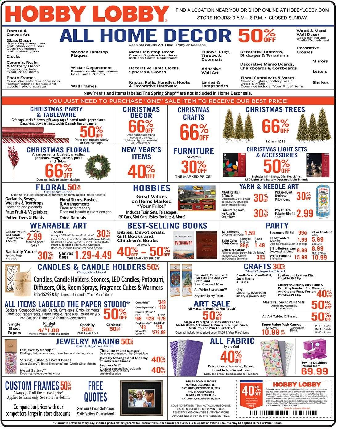 Hobby Lobby Flyer - 12.15.2019 - 12.21.2019 - Sales products - box, sticker, boxed card, gift wrap, envelope, Cars, paper, pencil, ribbon, sheet, pillow, quilt, satin, wall decor, christmas tree, christmas decor, pad, paint, tools, essentials, throws. Page 1.