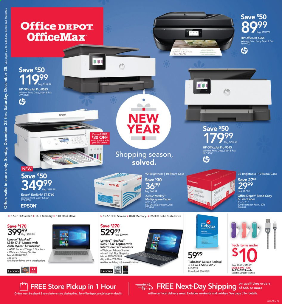 Office DEPOT Flyer  - 12.22.2019 - 12.28.2019. Page 1.