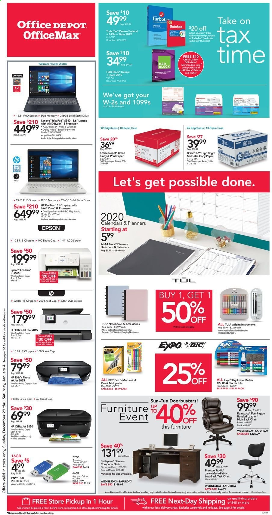 Office DEPOT Flyer  - 12.29.2019 - 01.04.2020. Page 1.