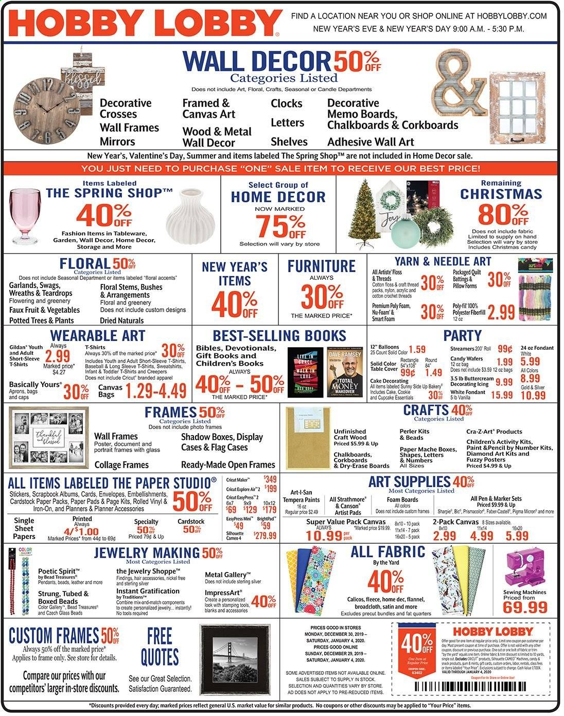 Hobby Lobby Flyer  - 12.29.2019 - 01.04.2020. Page 1.
