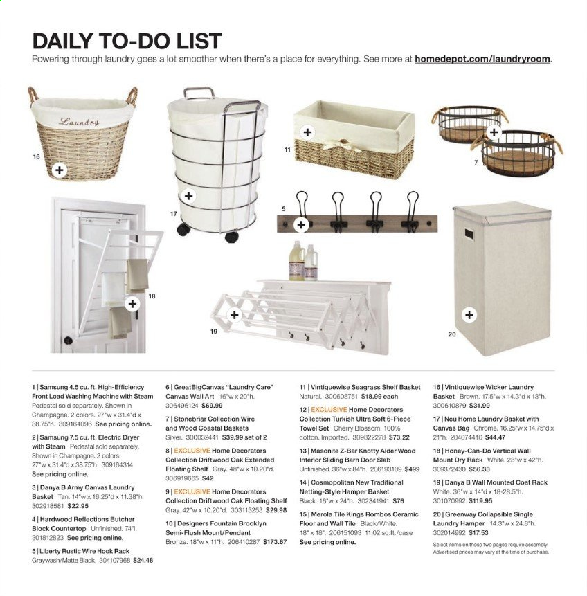 The Home Depot Flyer - 12.30.2019 - 02.09.2020 - Sales products - bag, basket, case, coat, cotton, countertop, door, dryer, electric dryer, rack, samsung, shelf, towel, honey, hook, champagne, pendant, washing machine. Page 78.