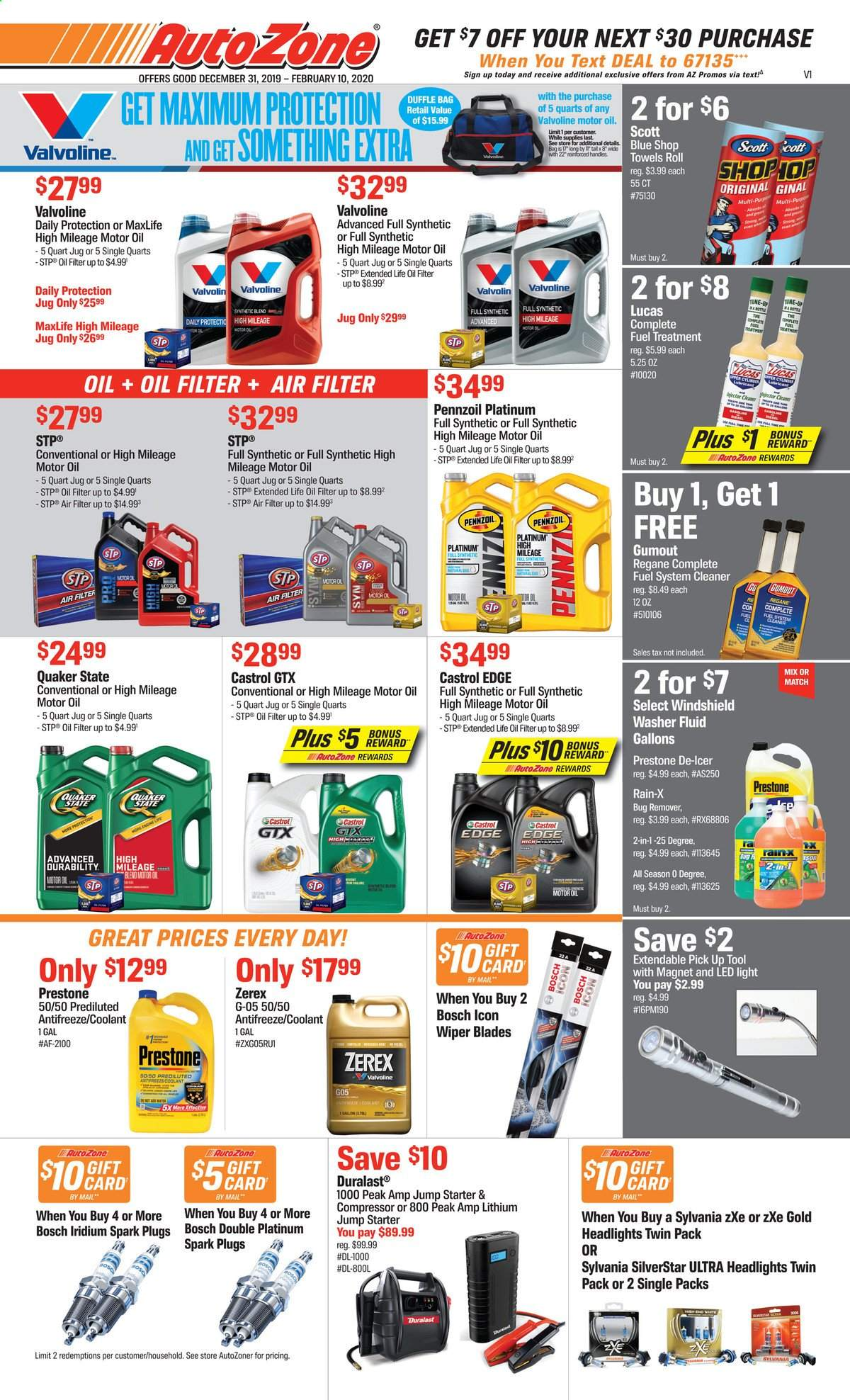 Autozone Flyer - 12.31.2019 - 02.10.2020 - Sales products - Sylvania, Bosch, air filter, spark plugs, wiper blades, oil filter, Duralast, starter, fuel system cleaner, Lucas, cleaner, antifreeze, STP, washer fluid, Rain-X, motor oil, Prestone, fuel supplement, Valvoline, Castrol, Quaker State, Pennzoil, Gumout, air compressor. Page 1.