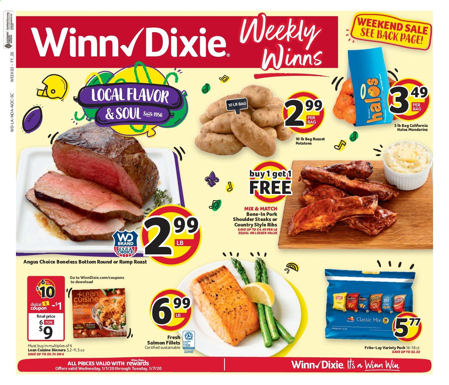 Winn Dixie Flyer - 01.01.2020 - 01.07.2020 - Sales products - russet potatoes, potatoes, pork meat, pork shoulder, salmon, ribs. Page 1.