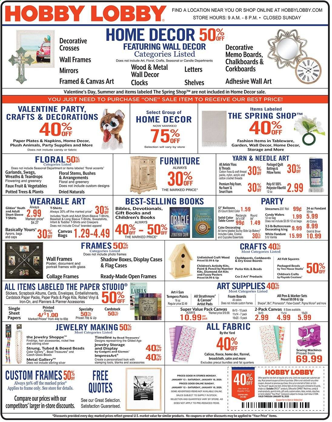 Hobby Lobby Flyer  - 01.12.2020 - 01.18.2020. Page 1.