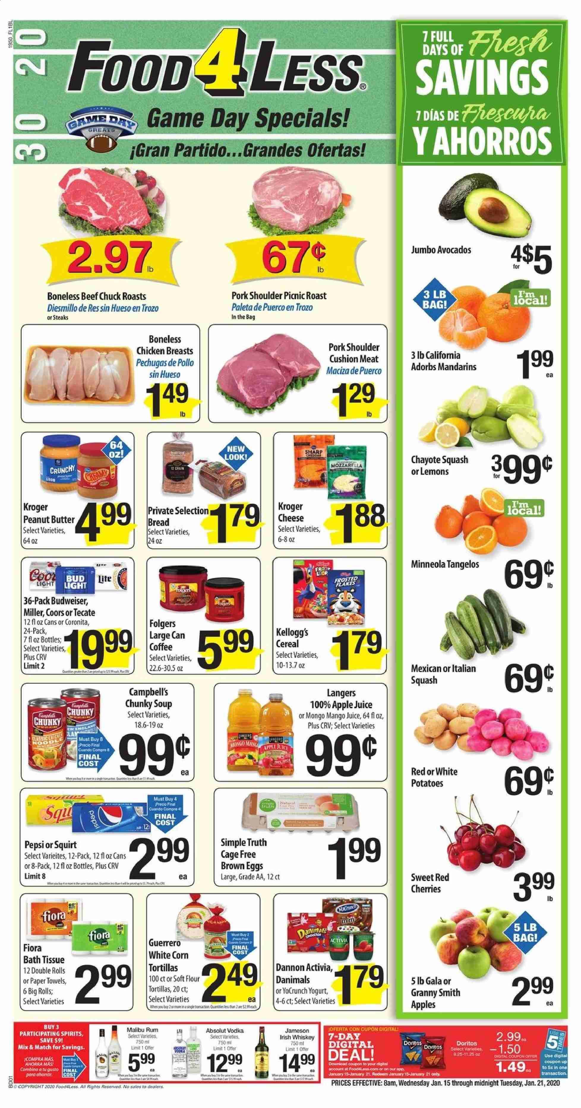 Food 4 Less Flyer  - 01.15.2020 - 01.21.2020. Page 1.