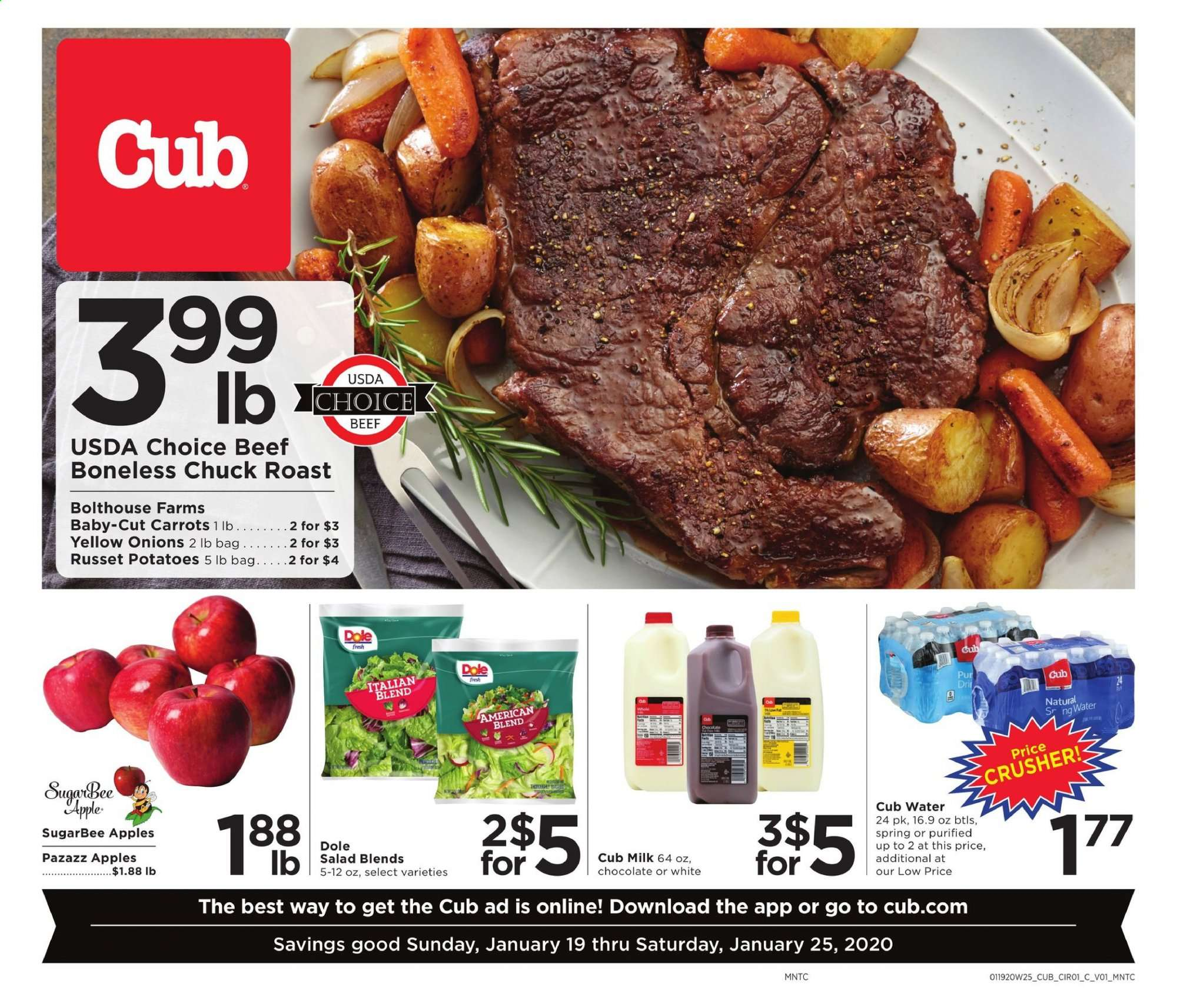 Cub Foods Flyer - 01.19.2020 - 01.25.2020 - Sales products - carrots, russet potatoes, yellow onions, potatoes, onion, Dole, apples, salad, milk, chocolate, water, beef meat. Page 1.