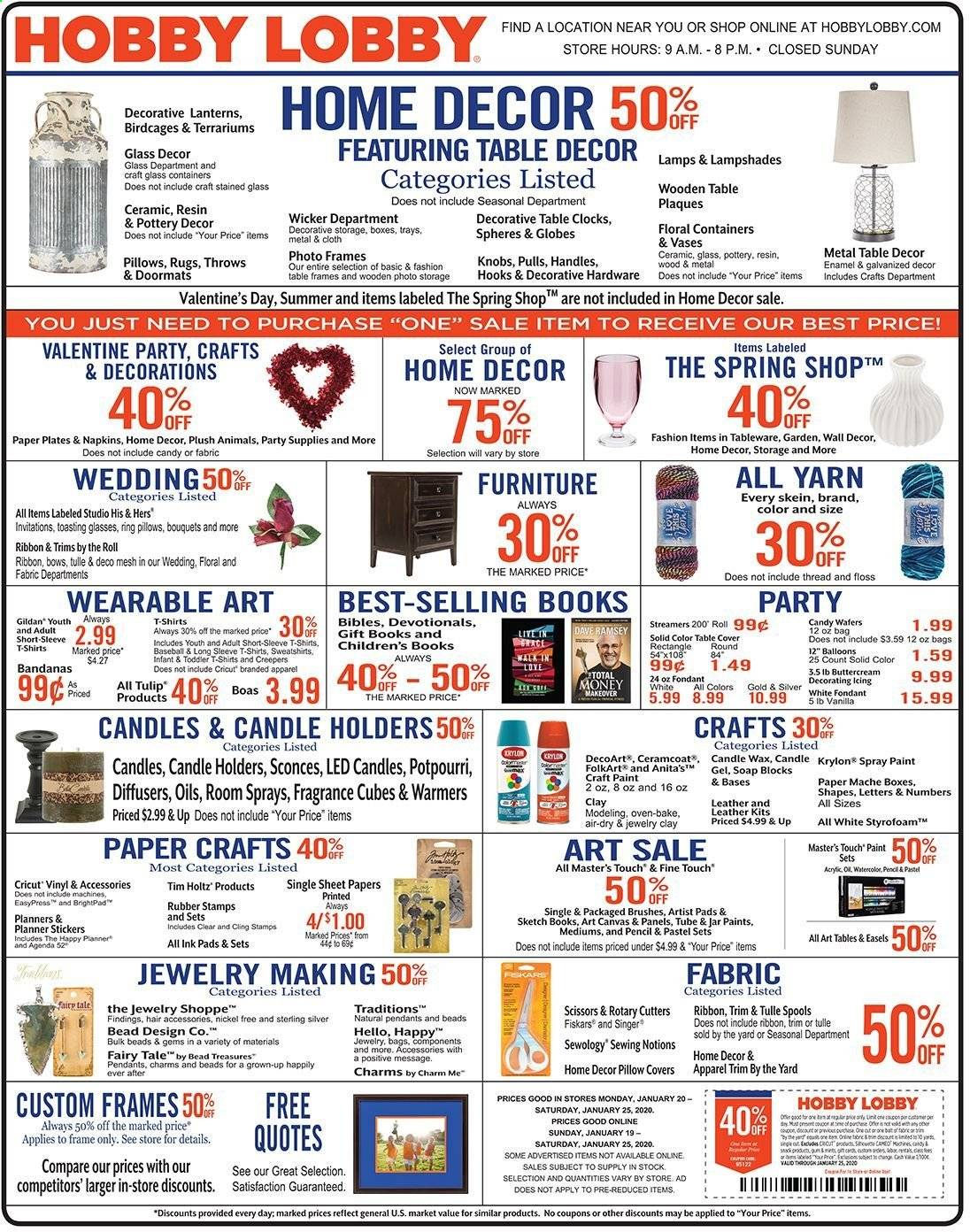 Hobby Lobby Flyer 01 19 2020 01 25 2020 Page 1 Weekly Ads