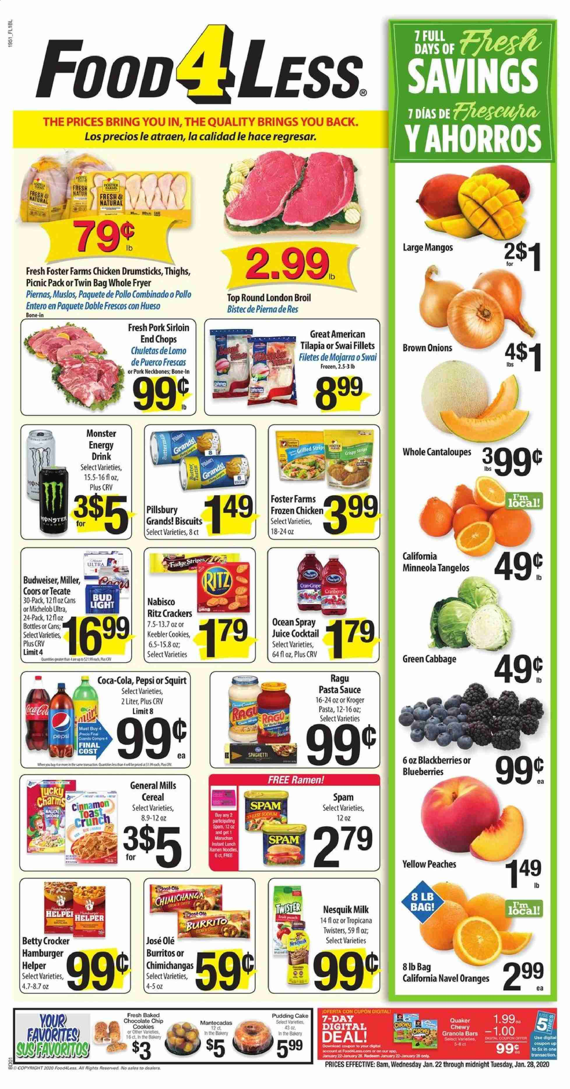 Food 4 Less Flyer  - 01.22.2020 - 01.28.2020. Page 1.