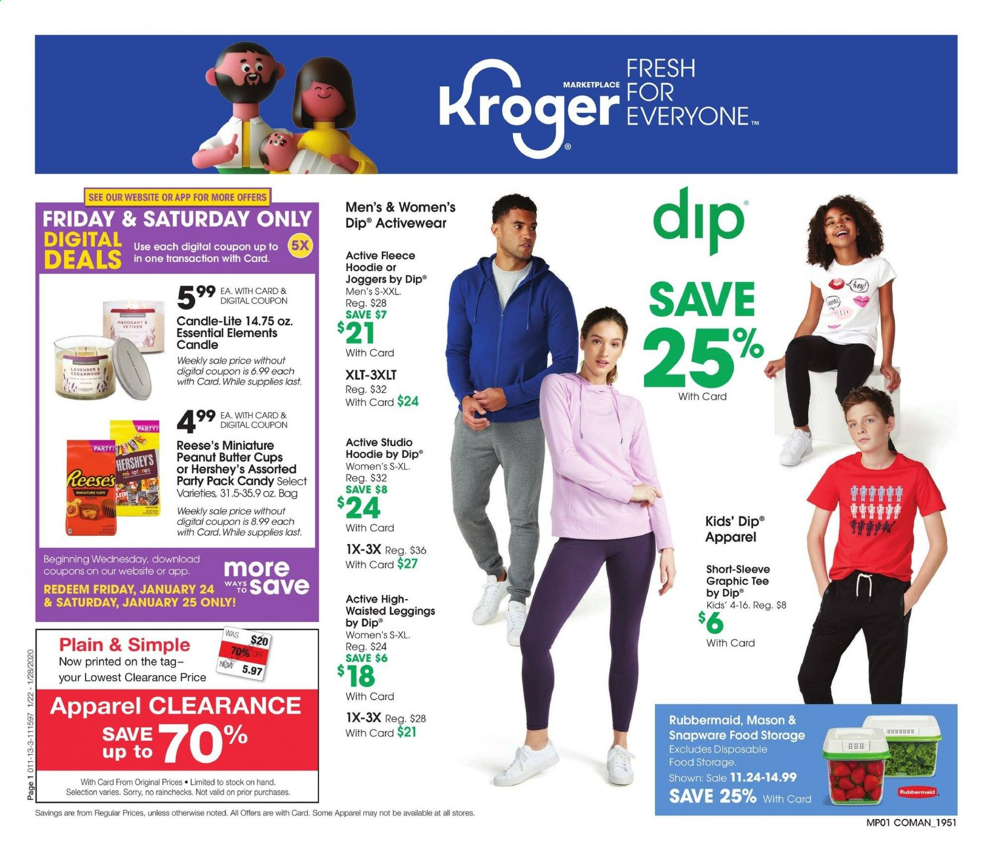 Kroger Flyer - 01.22.2020 - 01.28.2020 - Sales products - apparel, bag, candle, graphic tee, leggings, tee, hoodie, peanut butter, candy, reese. Page 1.