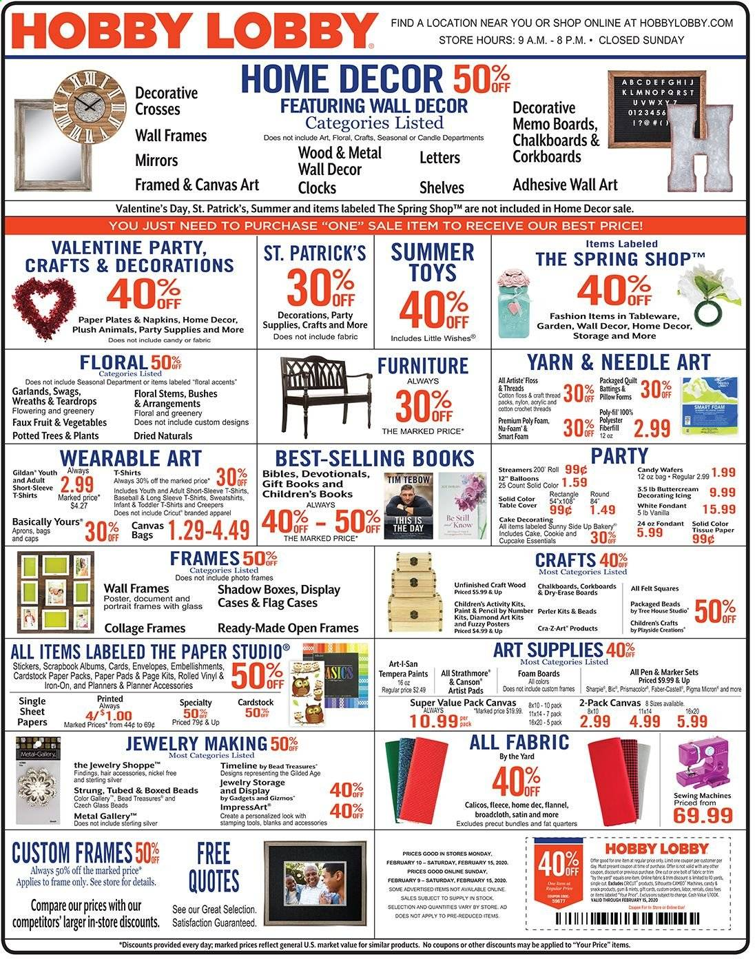 Hobby Lobby Flyer  - 02.09.2020 - 02.15.2020. Page 1.