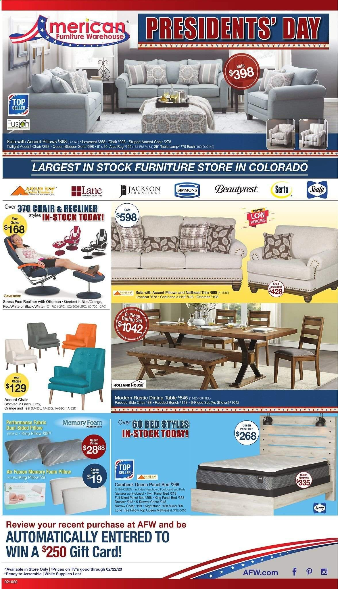 American Furniture Warehouse Flyer  - 02.16.2020 - 02.22.2020. Page 1.