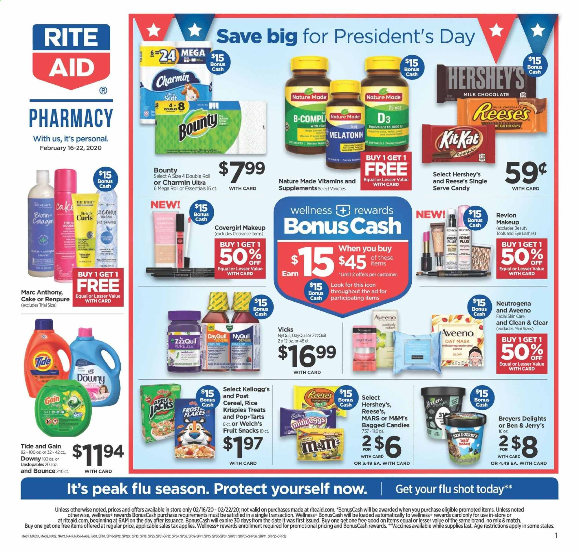 RITE AID Flyer - 02.16.2020 - 02.22.2020 - Sales products - milk chocolate, wafers, chocolate, candy, Bounty, Mars, KitKat, M&M's, snack, oats, cereals, peanuts, Aveeno, Gain, Downy, Tide, Unstopables, shampoo, Neutrogena, Revlon, tools, makeup, mask, Plus Plus, seed, Biotin, DayQuil, Melatonin, Nature Made, ZzzQuil, NyQuil, essentials. Page 1.