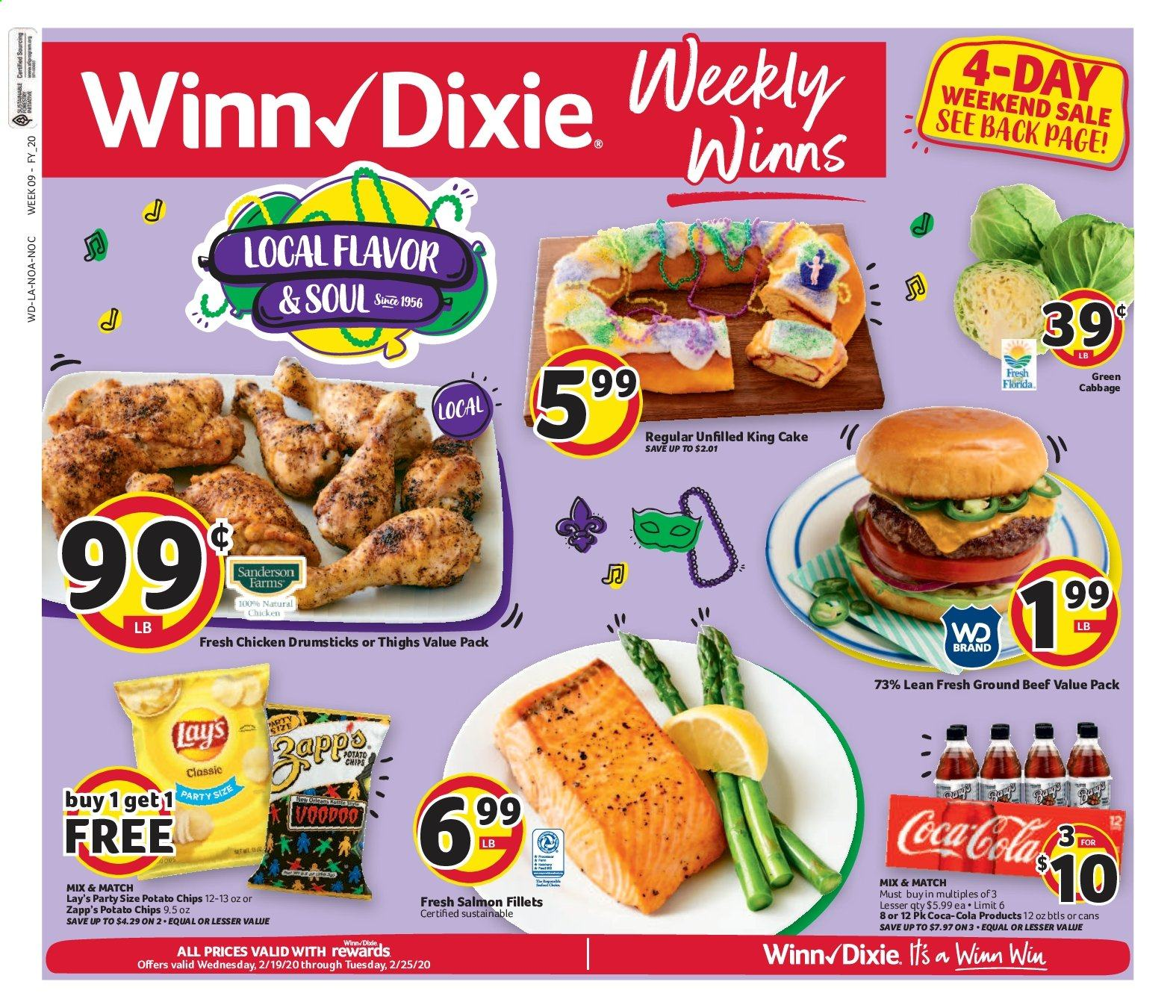 Winn Dixie Flyer - 02.19.2020 - 02.25.2020 - Sales products - cabbage, cake, chicken, chicken legs, beef meat, ground beef, salmon, potato chips, chips, Lay's, Coca-Cola. Page 1.