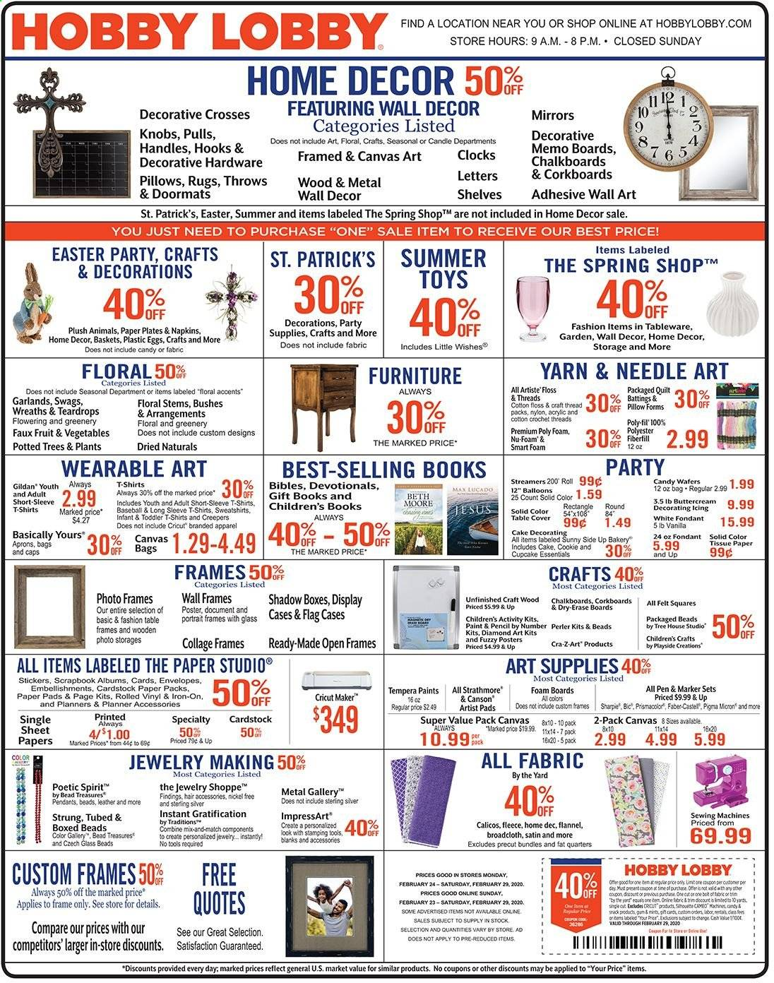 Hobby Lobby Flyer 02 23 2020 02 29 2020 Page 1 Weekly Ads