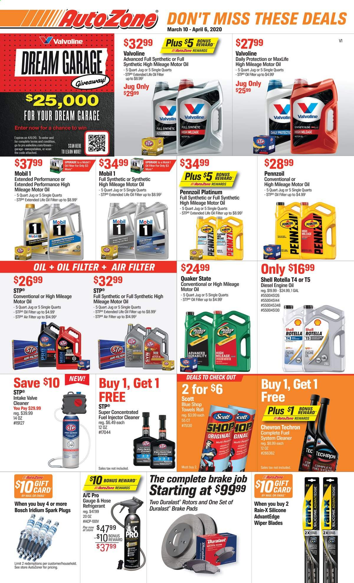 Autozone Flyer - 03.10.2020 - 04.06.2020 - Sales products - Bosch, air filter, spark plugs, wiper blades, brake pad, oil filter, Duralast, fuel system cleaner, injector cleaner, cleaner, STP, valve cleaner, Rain-X, Mobil, motor oil, Rotella, Shell, Valvoline, Quaker State, Pennzoil, Techron. Page 1.